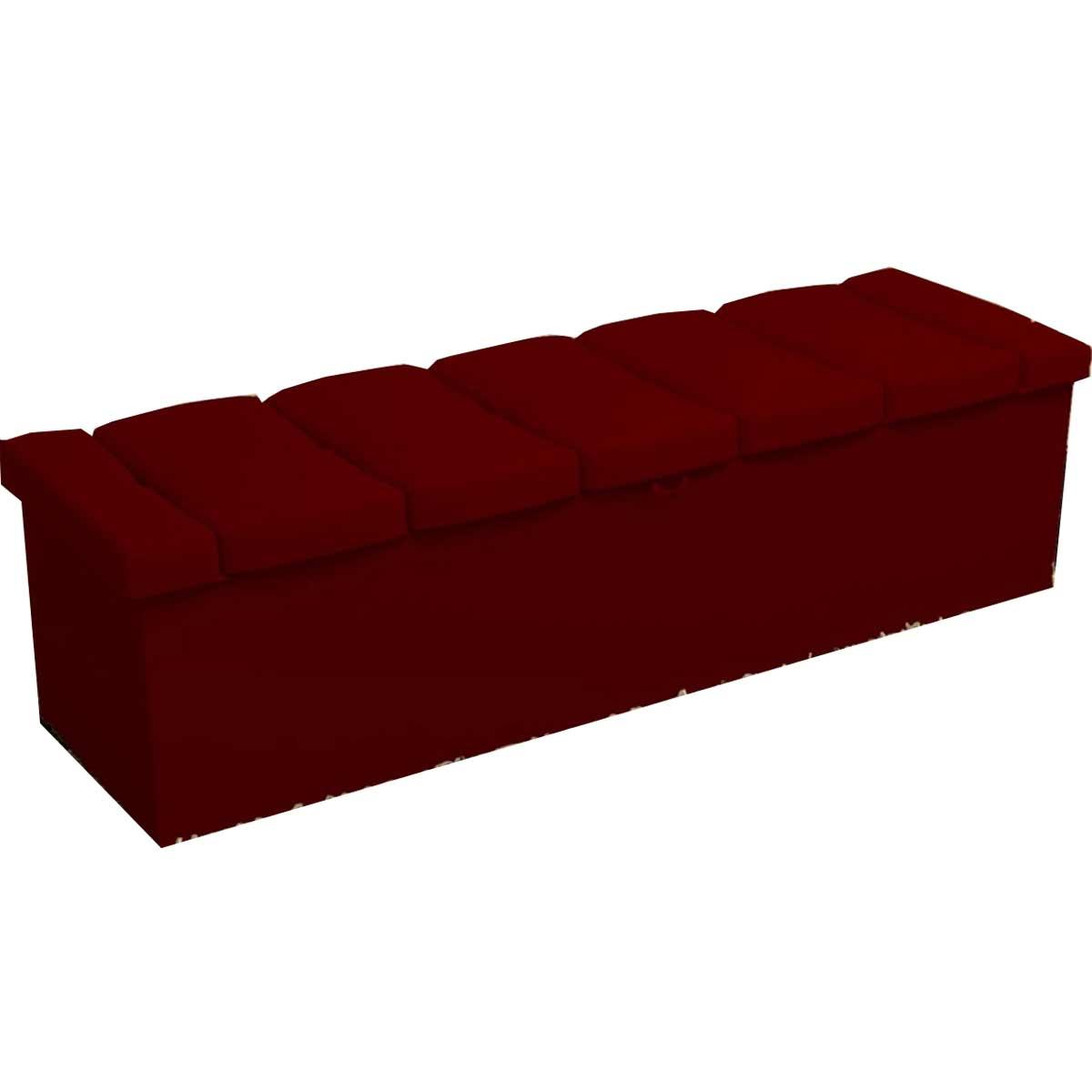Calçadeira com Baú Estofada Baú Kiara 195 cm Suede Vermelho