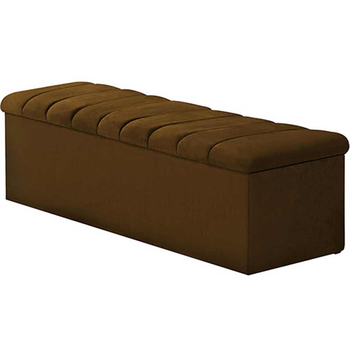 Calçadeira com Baú Condessa 140 cm Suede Chocolate Simbal