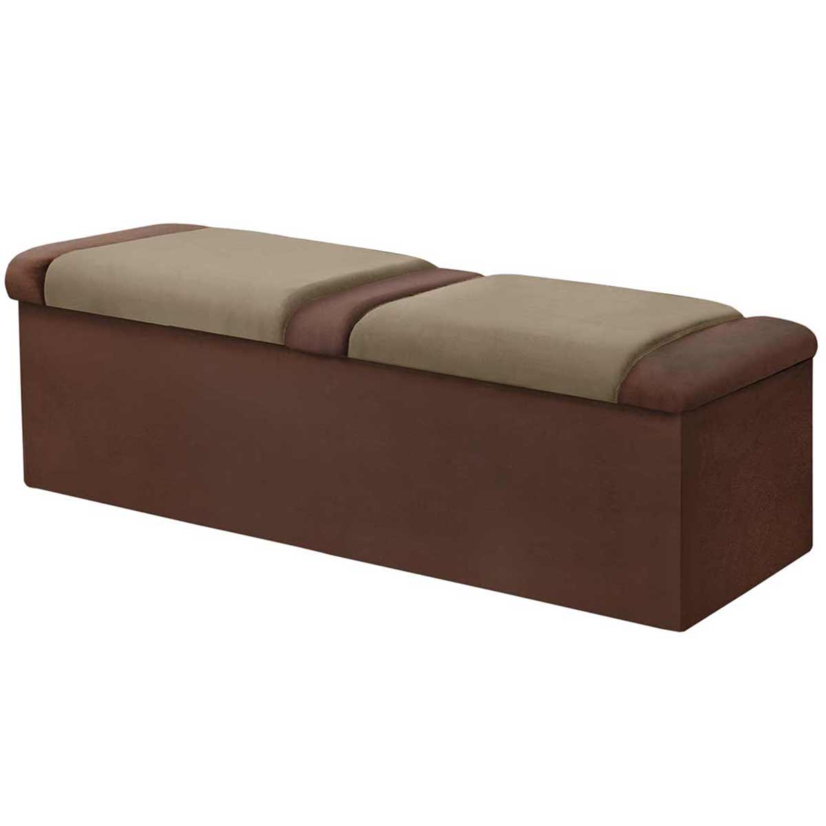 Calçadeira com Baú Duquesa 140 cm Chocolate/Taupe Simbal