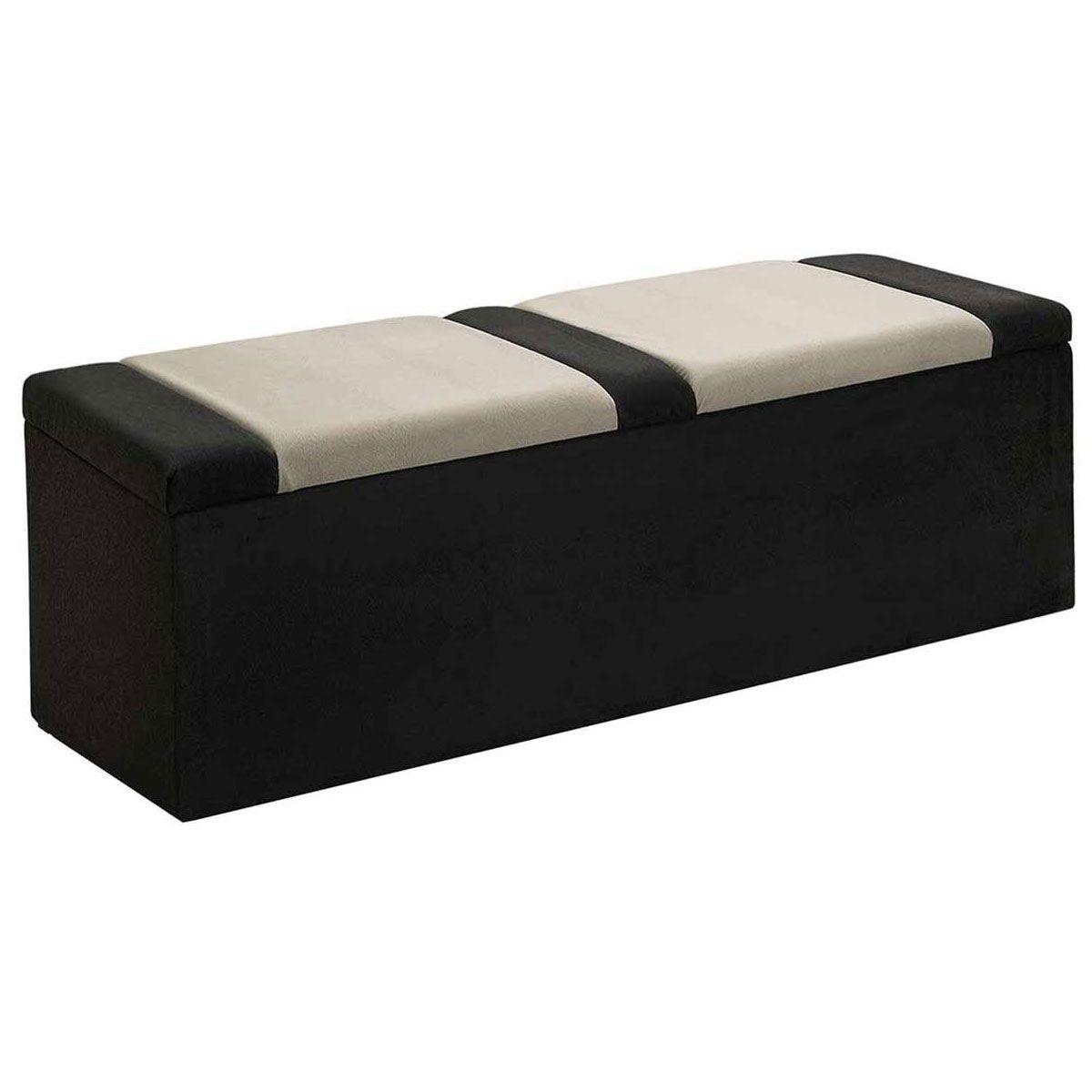 Calçadeira com Baú Estofada Barcelona 90 cm Preto/Bege