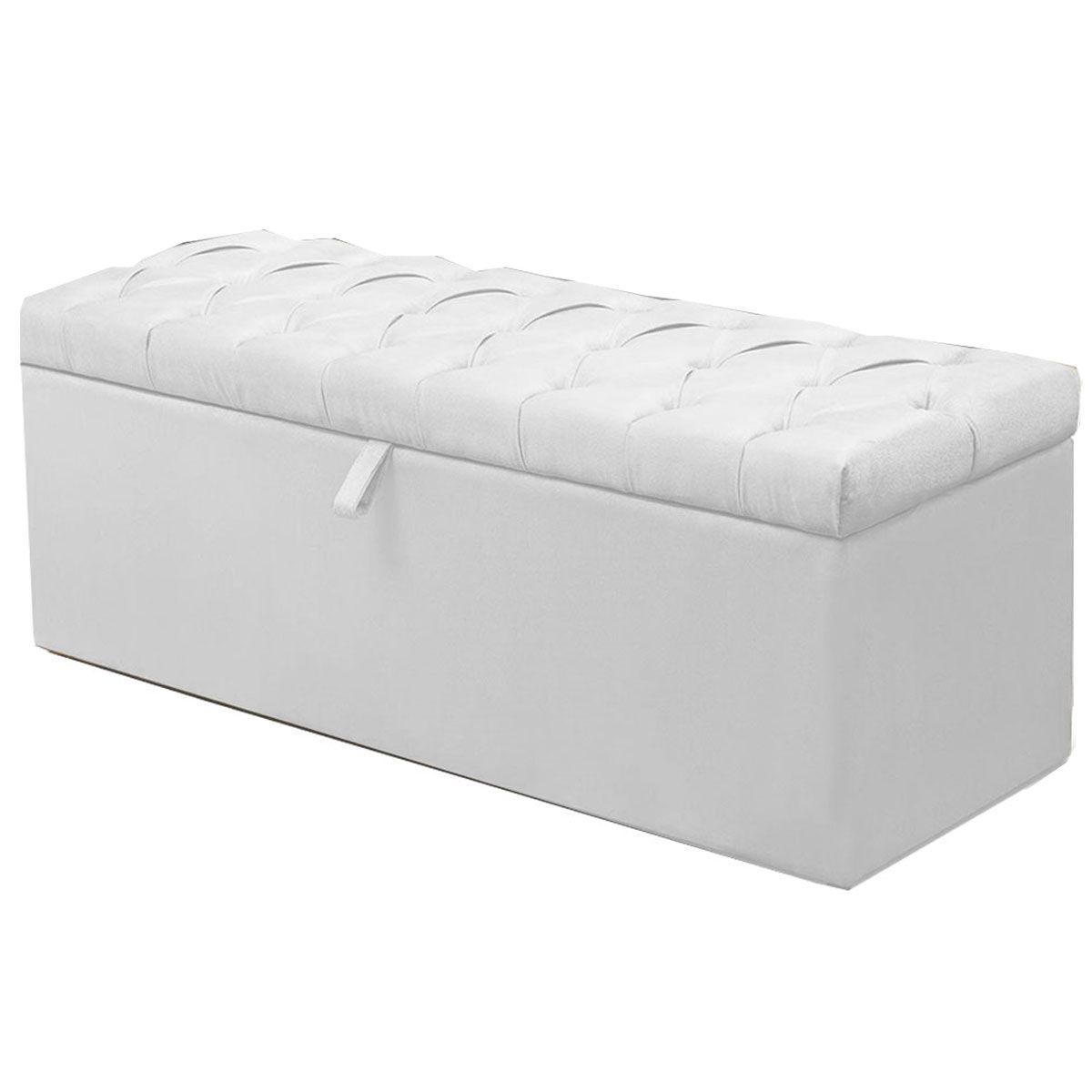 Calçadeira com Baú Itália Sintético Branco 90 cm