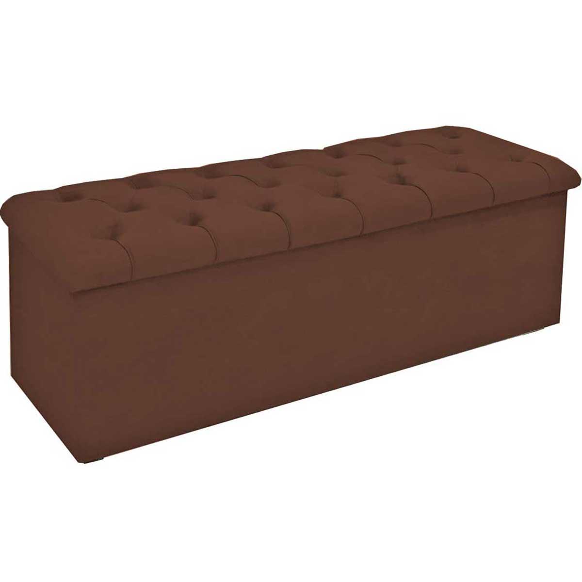 Calçadeira com Baú Estofada Lotus 160 cm Animale Chocolate