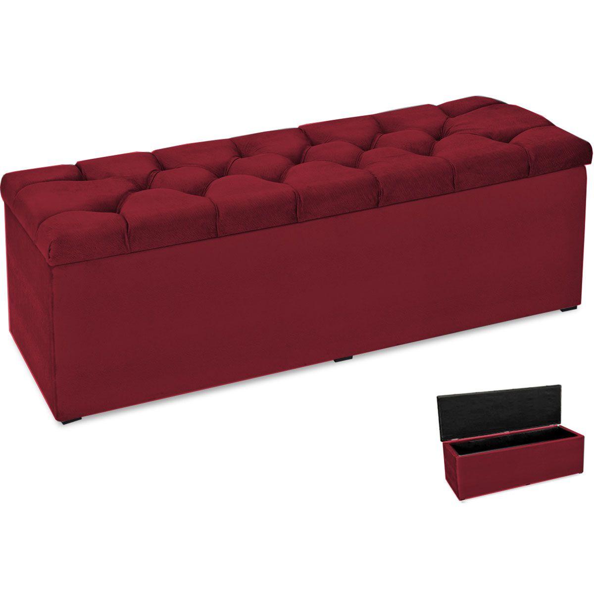 Calçadeira com Baú Paris 160 cm Amassado Vermelho JS Móveis