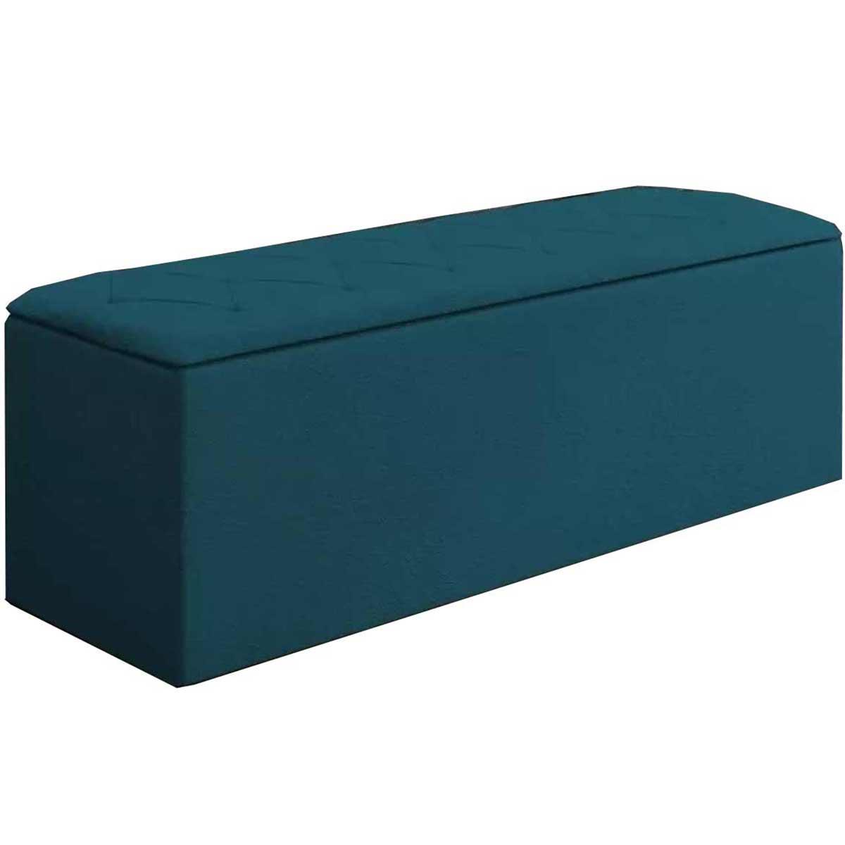 Calçadeira com Baú Paris 160 cm Azul Velur JS Móveis