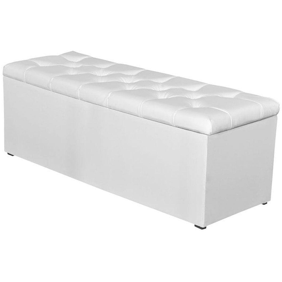 Calçadeira com Baú Paris 160 cm Sintético Branco JS Móveis