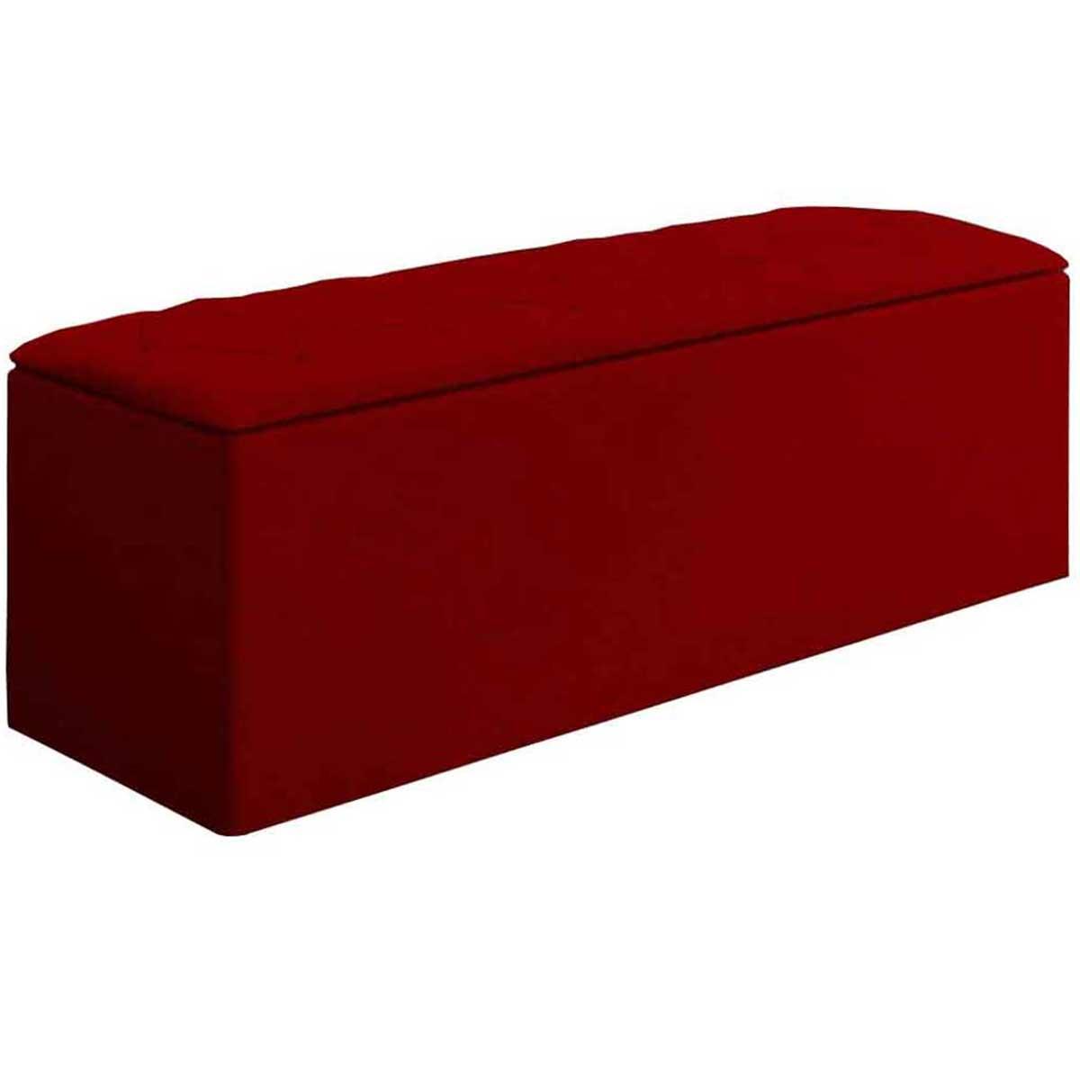 Calçadeira com Baú Paris 90 cm Suede Vermelho JS Móveis