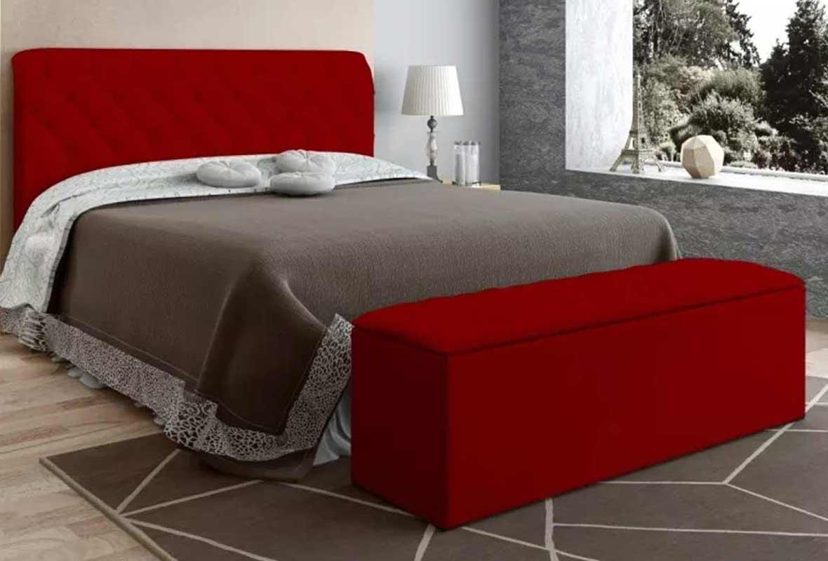 Conjunto Paris Casal 140 cm Suede Vermelho Js Móveis