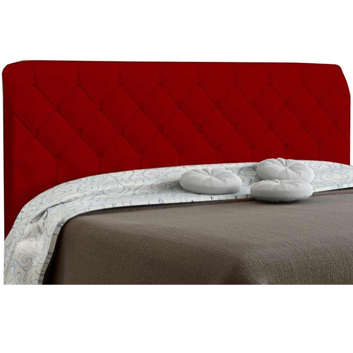 Kit Cabeceira e Calçadeira Queen Paris 160 cm Suede Vermelho