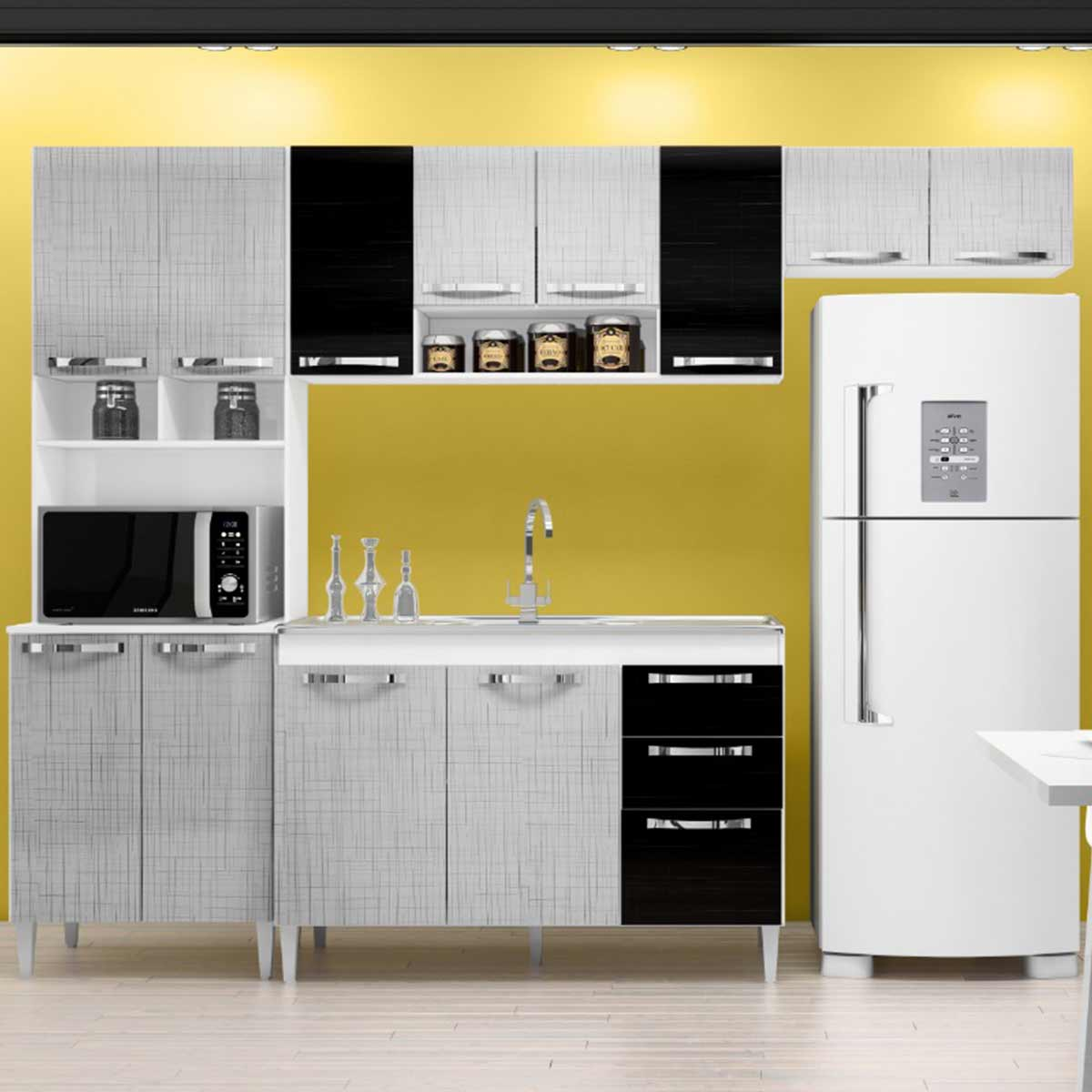 Cozinha Completa Carol 5 Peças Branco/Gelo/Negro Incorplac