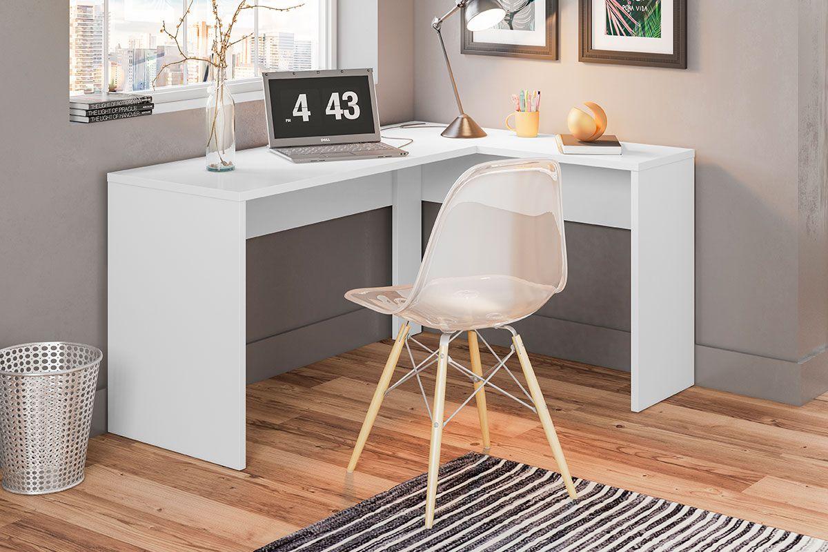 Escrivaninha de Canto Presence Office Branco Demóbile Móveis