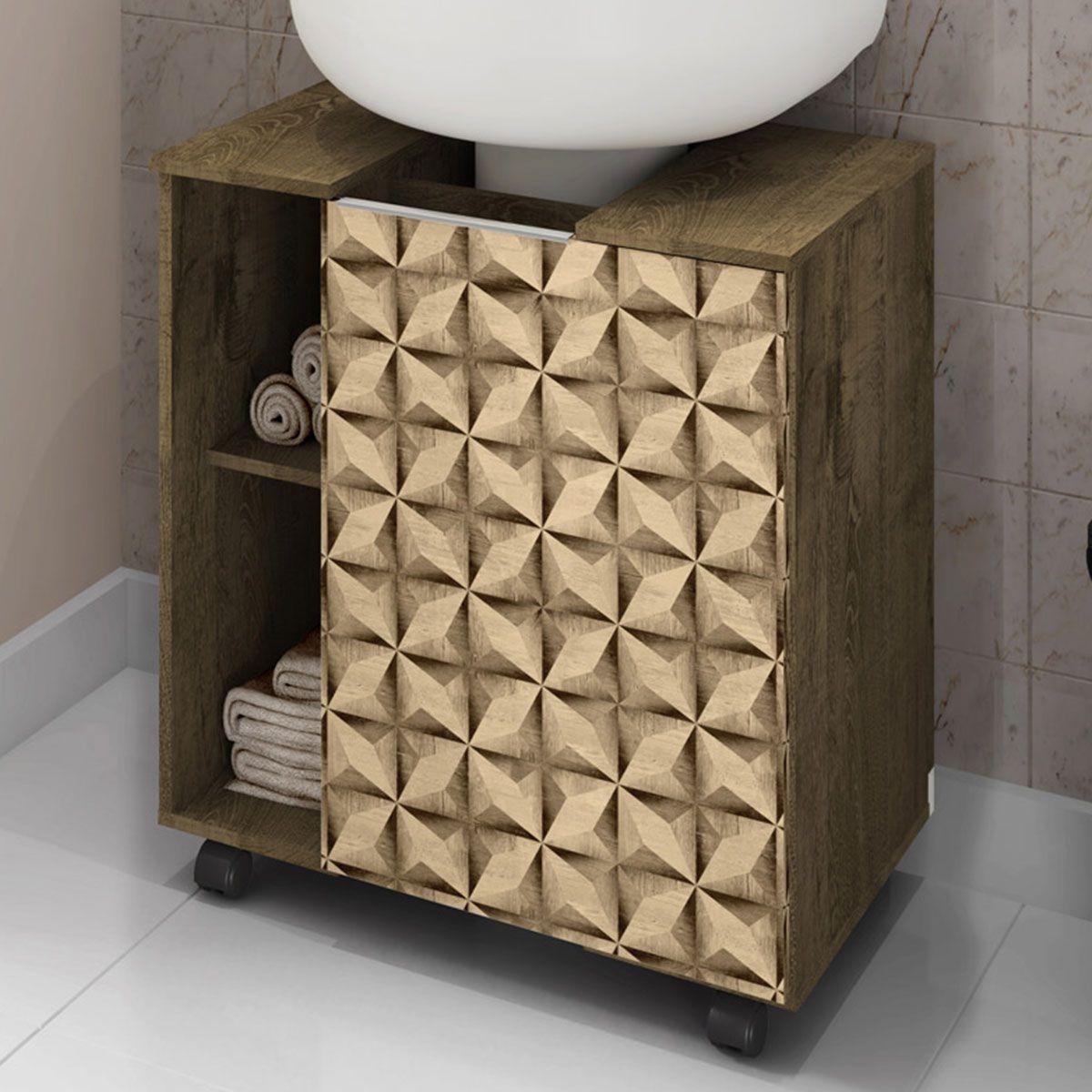 Gabinete para Banheiro Pequin Madeira Rustica 3D Bechara