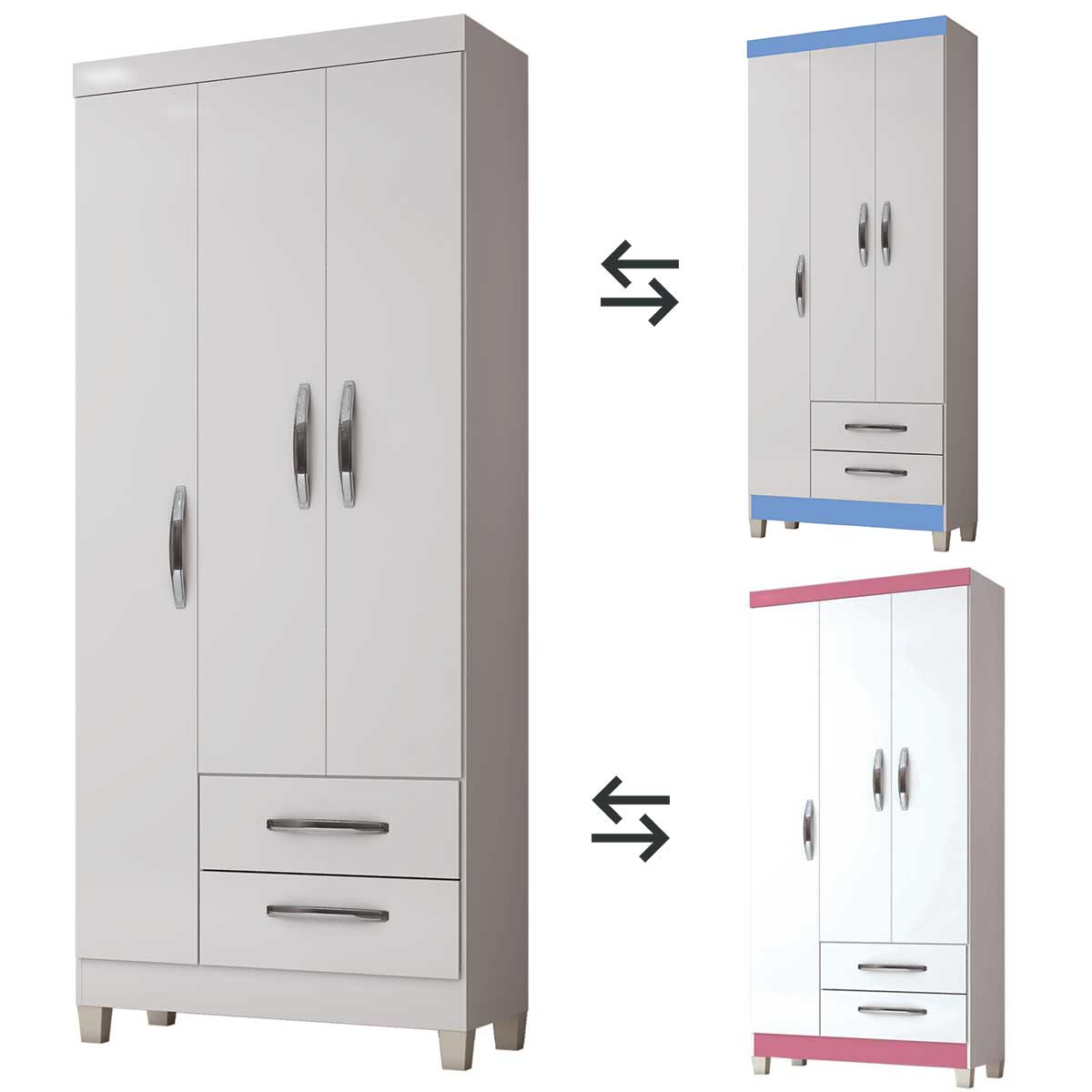 Guarda-Roupa Módena 3 Portas Branco Flex Incorplac