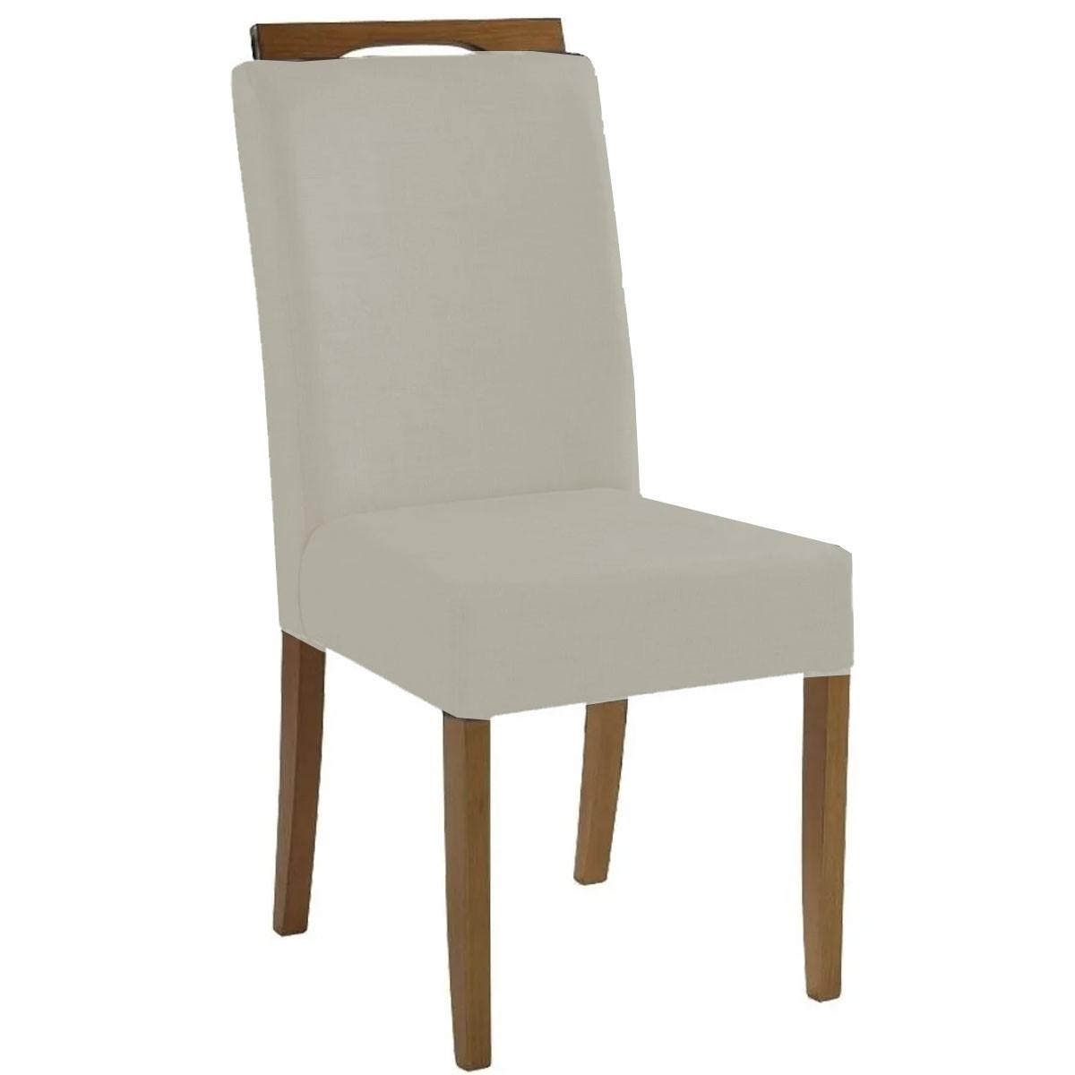 Kit 2 Cadeiras Estofadas Fabiana 100% Madeira Suede Bege