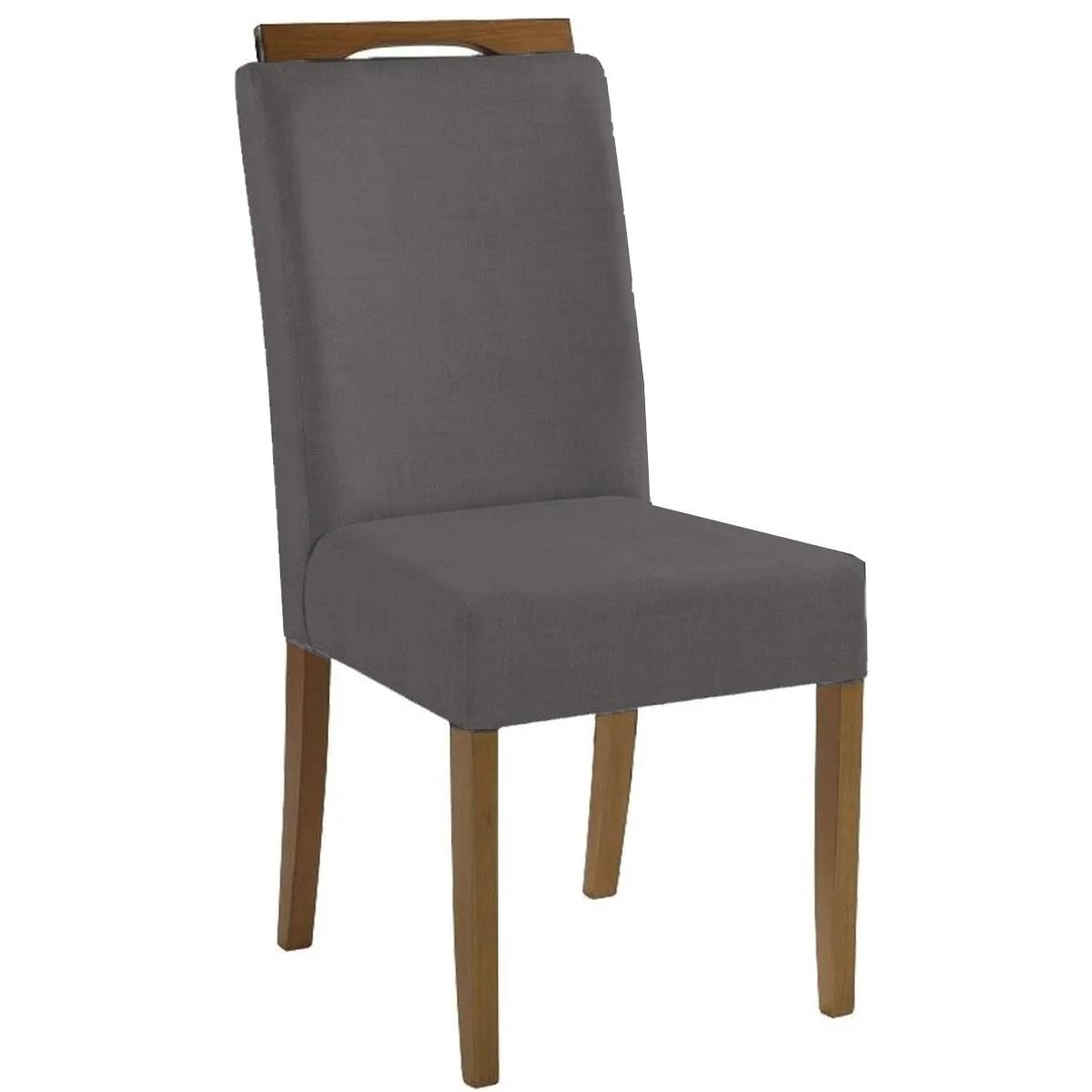 Kit 2 Cadeiras Estofadas Fabiana 100% Madeira Suede Cinza