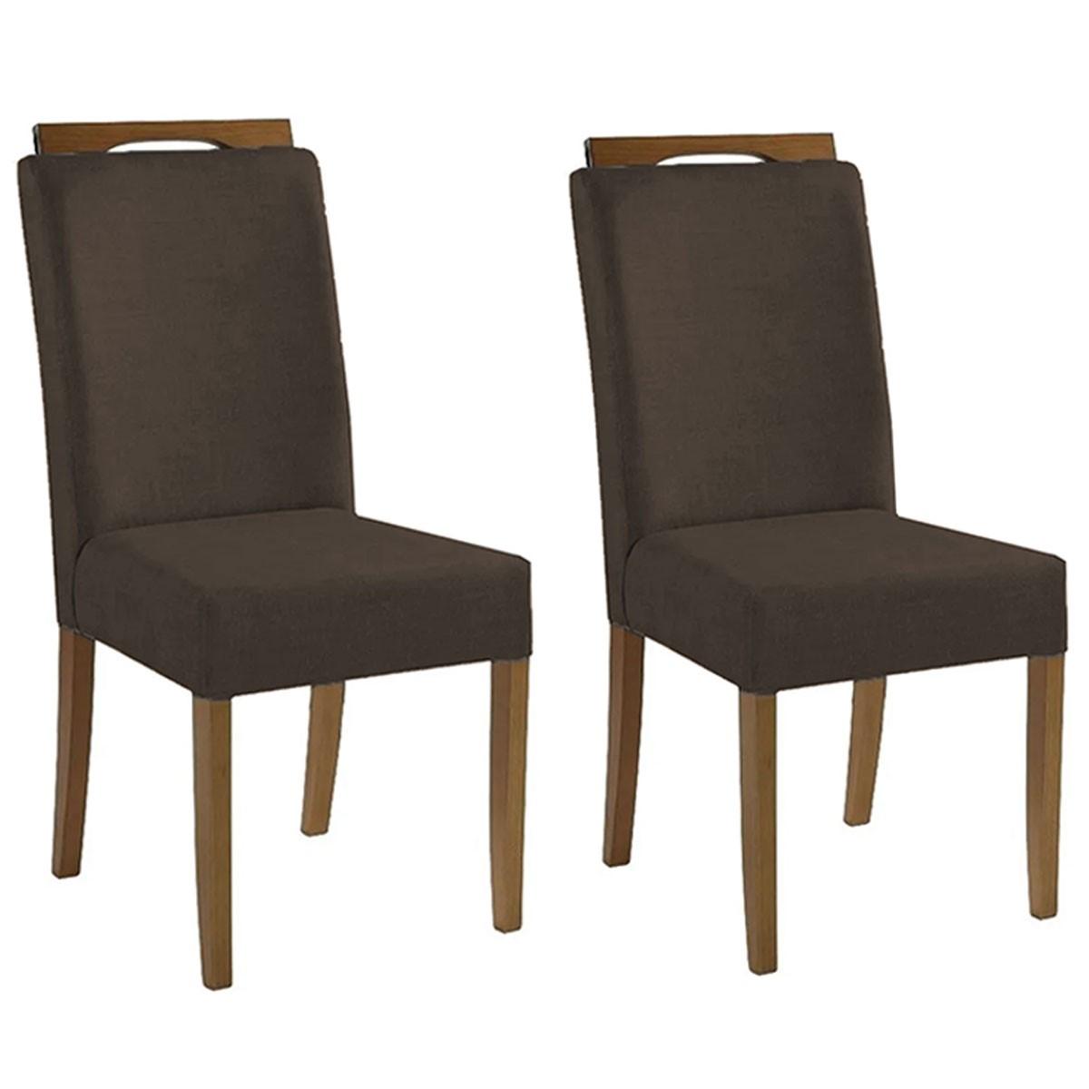 Kit 2 Cadeiras Estofadas Fabiana 100% Madeira Suede Marrom