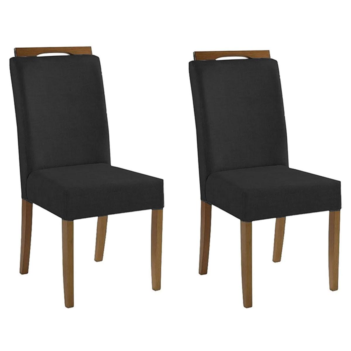 Kit 2 Cadeiras Estofadas Fabiana 100% Madeira Suede Preto
