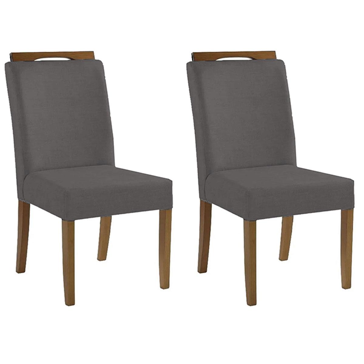 Kit 2 Cadeiras Estofadas Heloísa 100% Madeira Suede Cinza