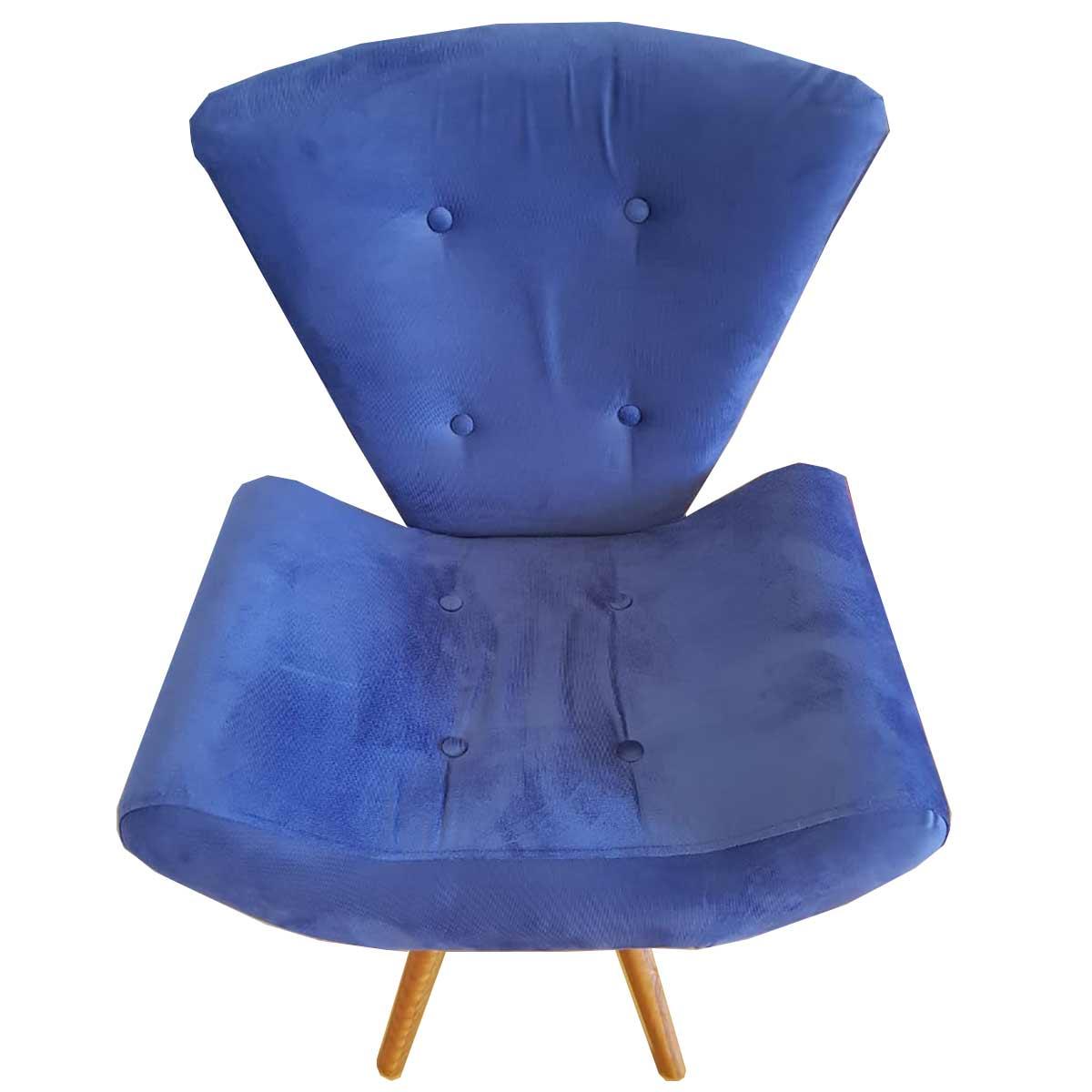 Kit 2 Poltronas Decorativas Diana Animale Azul Marinho