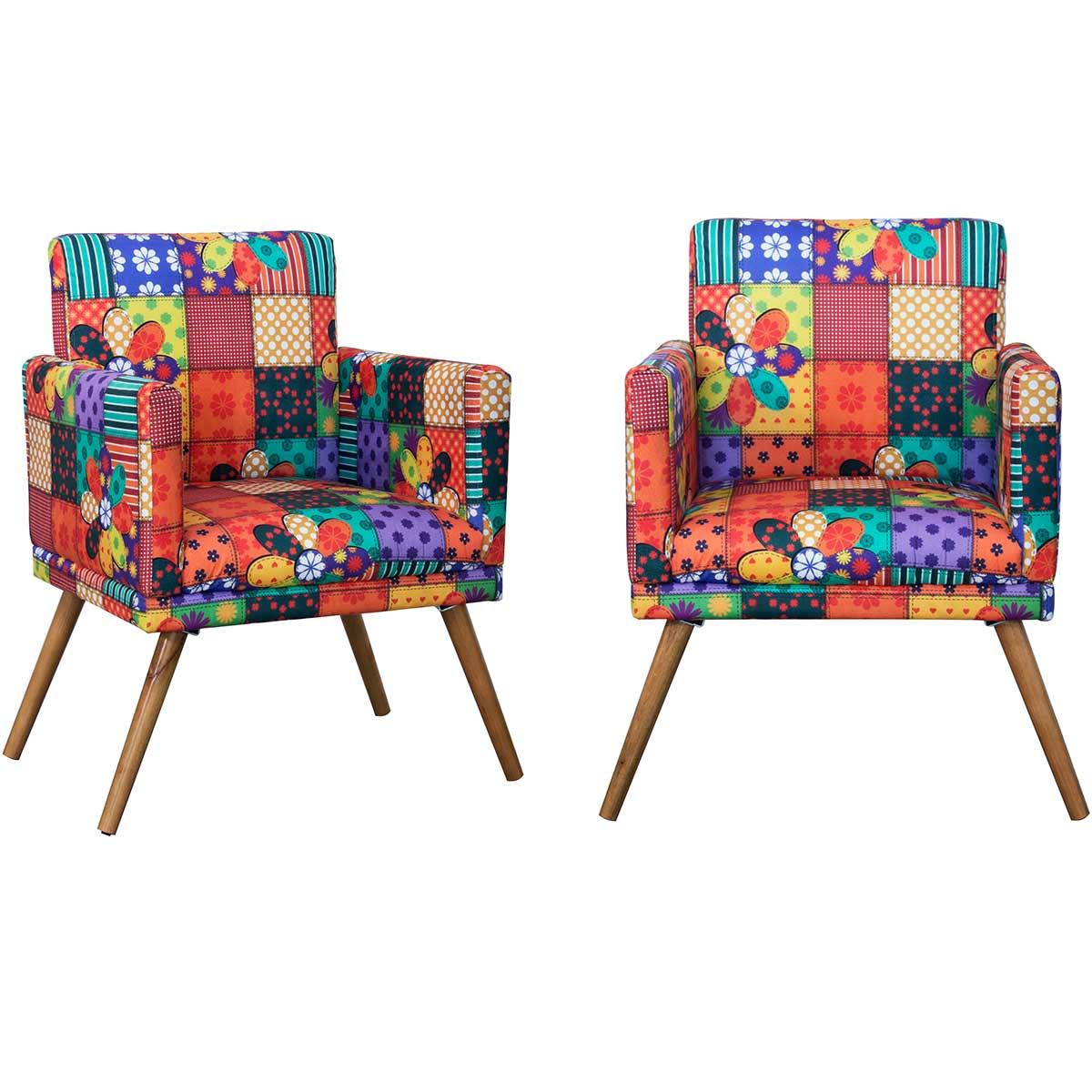 Kit 2 Poltronas Decorativas New Nina Pé Palito Primavera