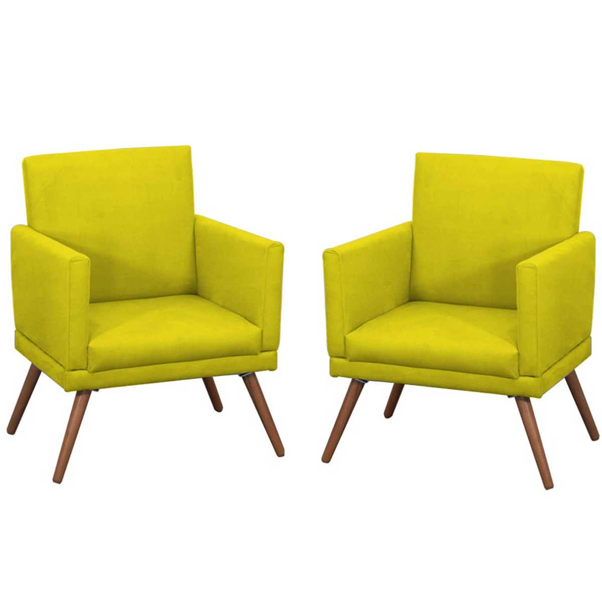Kit 2 Poltronas Decorativas New Nina Pé Palito Suede Amarelo
