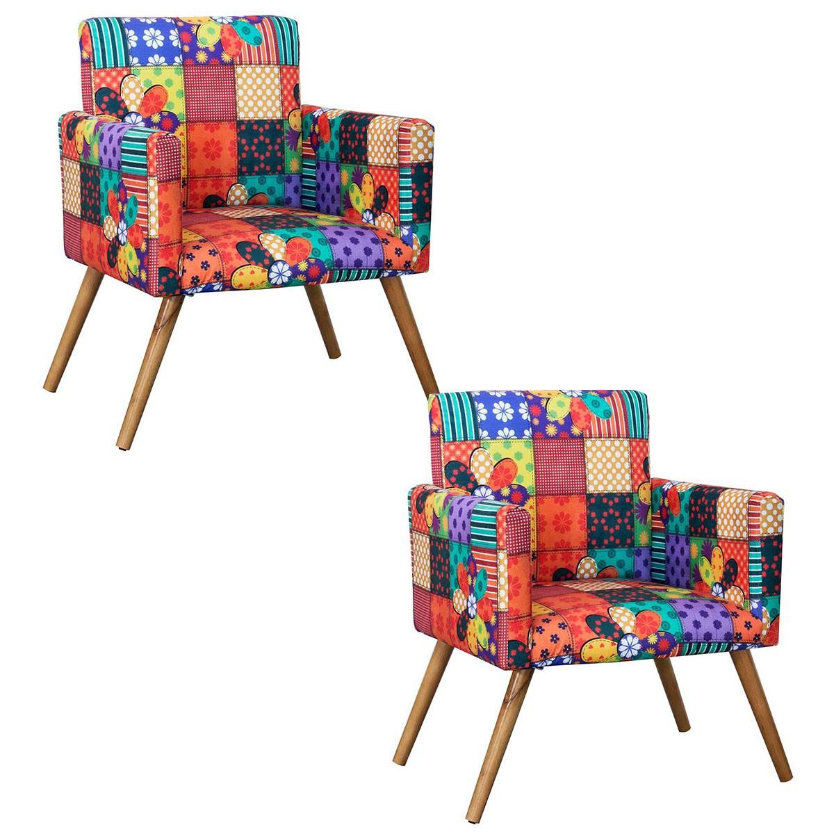 Kit 2 Poltronas Decorativas Nina Pé Palito Primavera