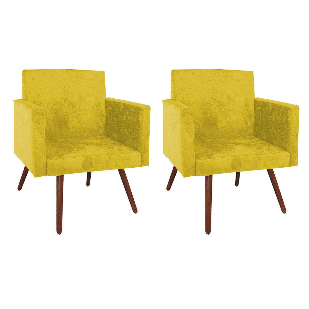 Kit 2 Poltronas Decorativa Nina Luxo Pés Palito Amarelo