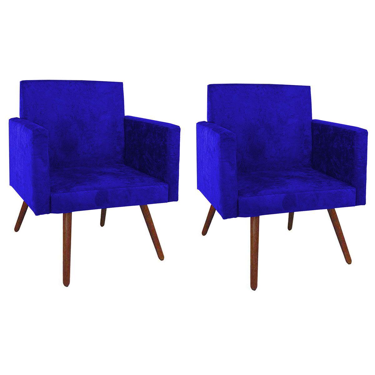 Kit 2 Poltronas Decorativa Nina Luxo Pés Palito Azul Marinho
