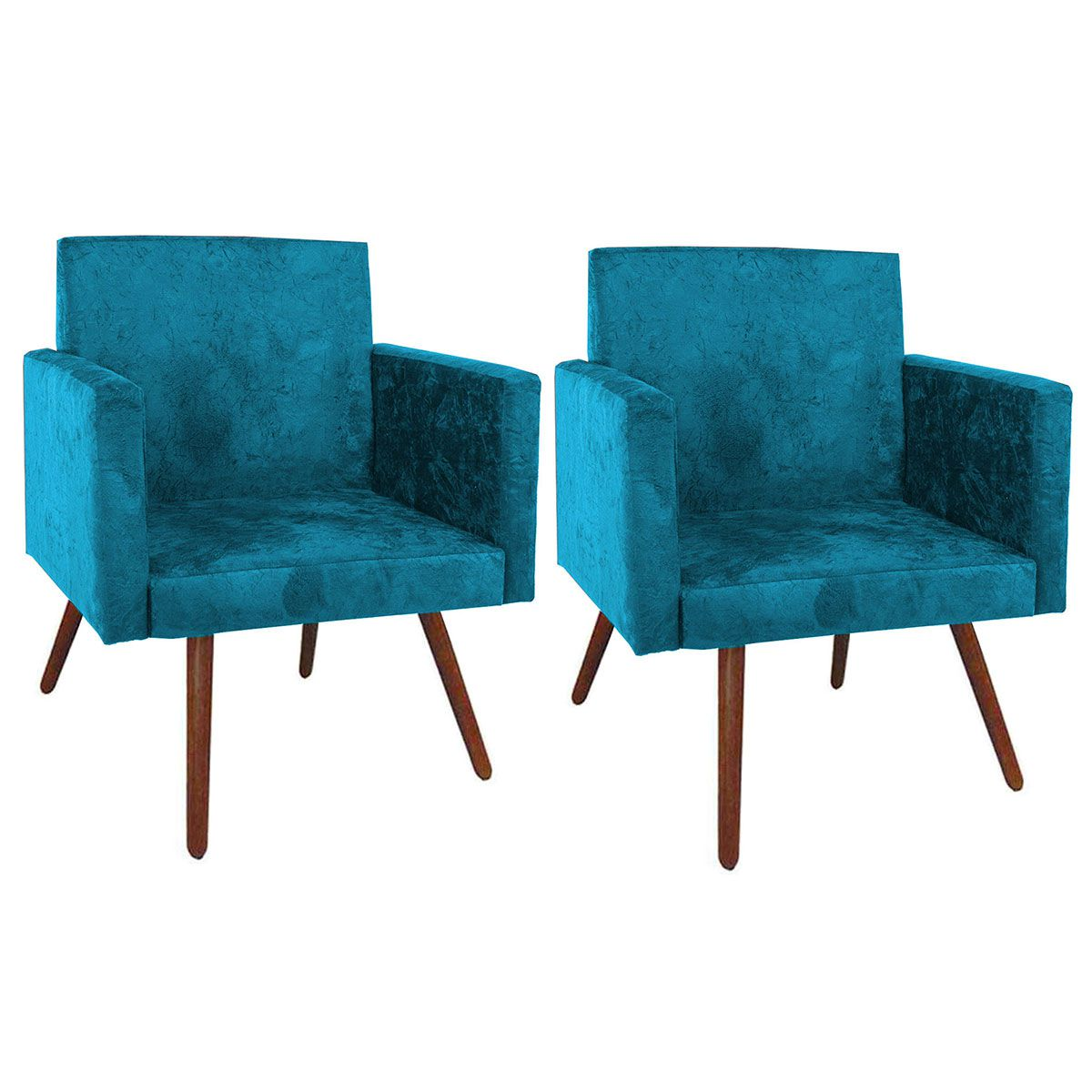 Kit 2 Poltronas Decorativa Nina Luxo Pés Palito Azul Turquesa