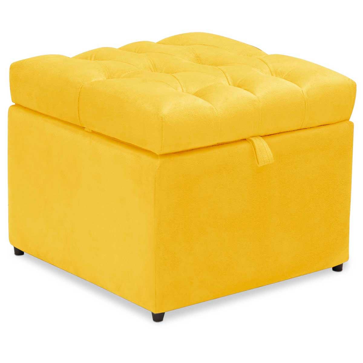 Kit 2 Puff Baú Mali Animale Amarelo Arte das Cabeceiras