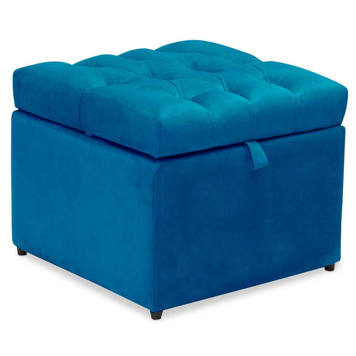 Kit 2 Puff Baú Mali Animale Azul Arte das Cabeceiras