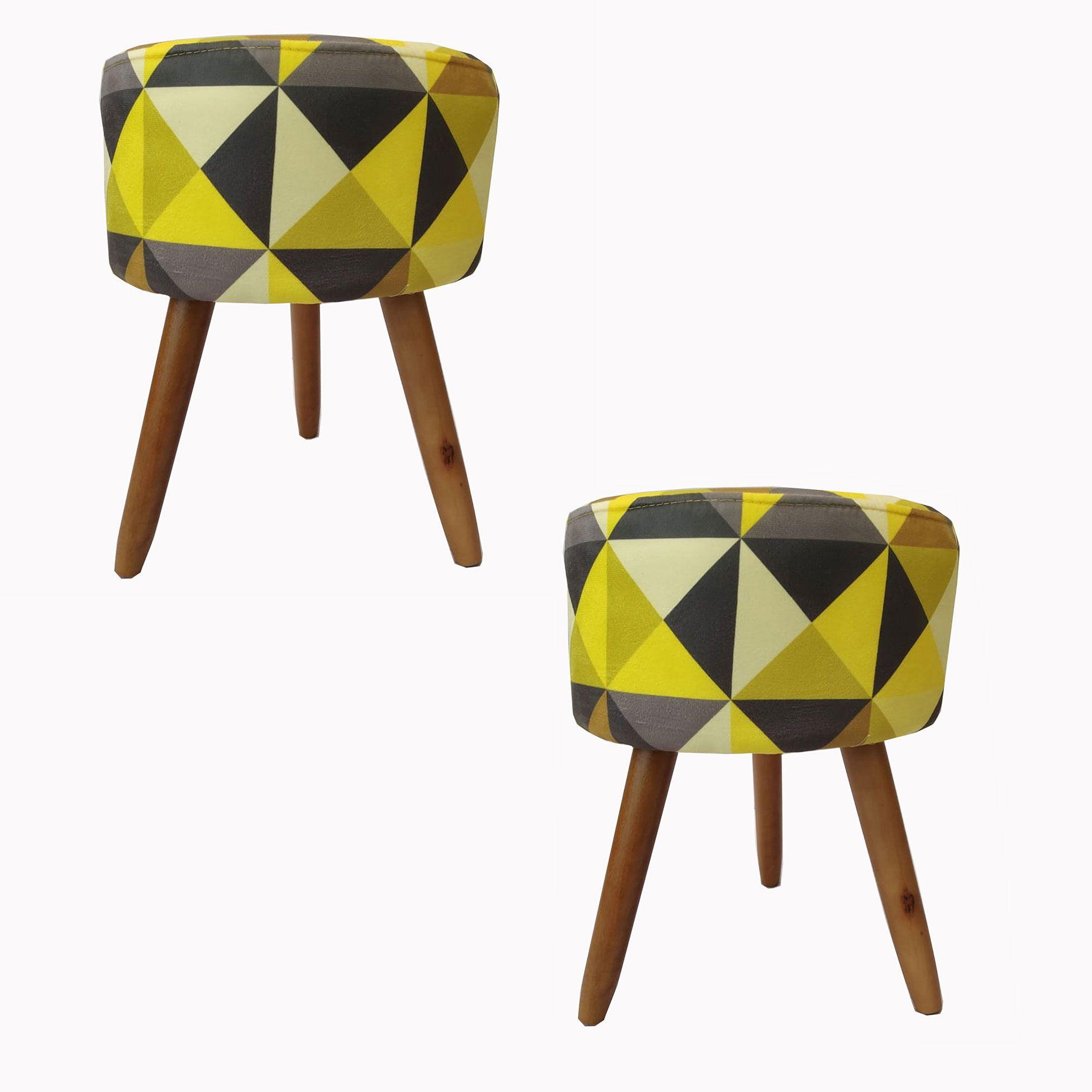 Kit 2 Puff Decorativos Milão Pé Palito Triângulos Amarelo