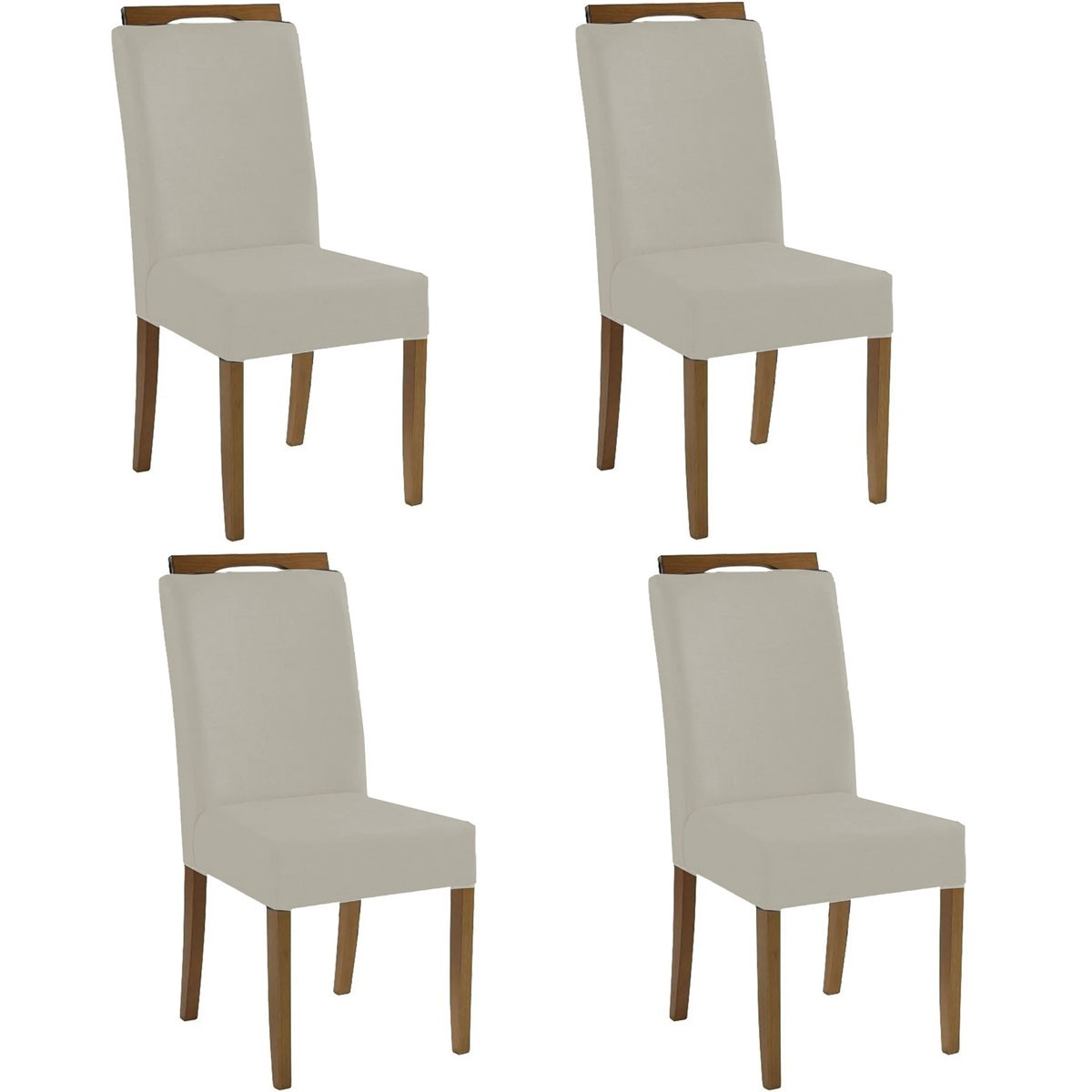 Kit 4 Cadeiras Estofadas Fabiana 100% Madeira Suede Bege