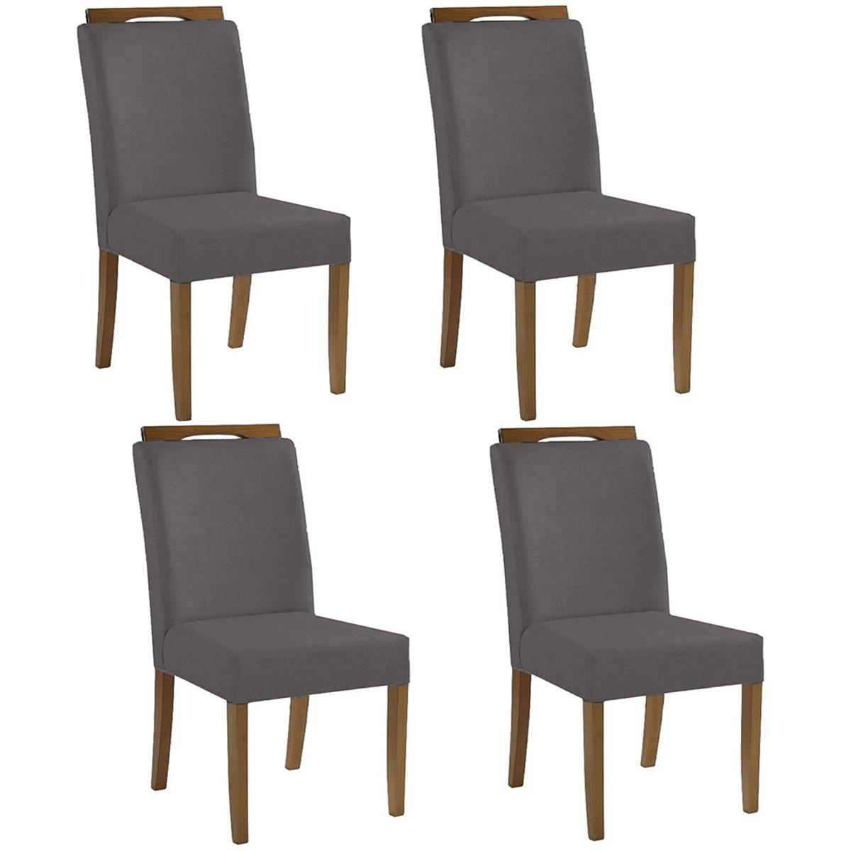 Kit 4 Cadeiras Estofadas Fabiana 100% Madeira Suede Cinza