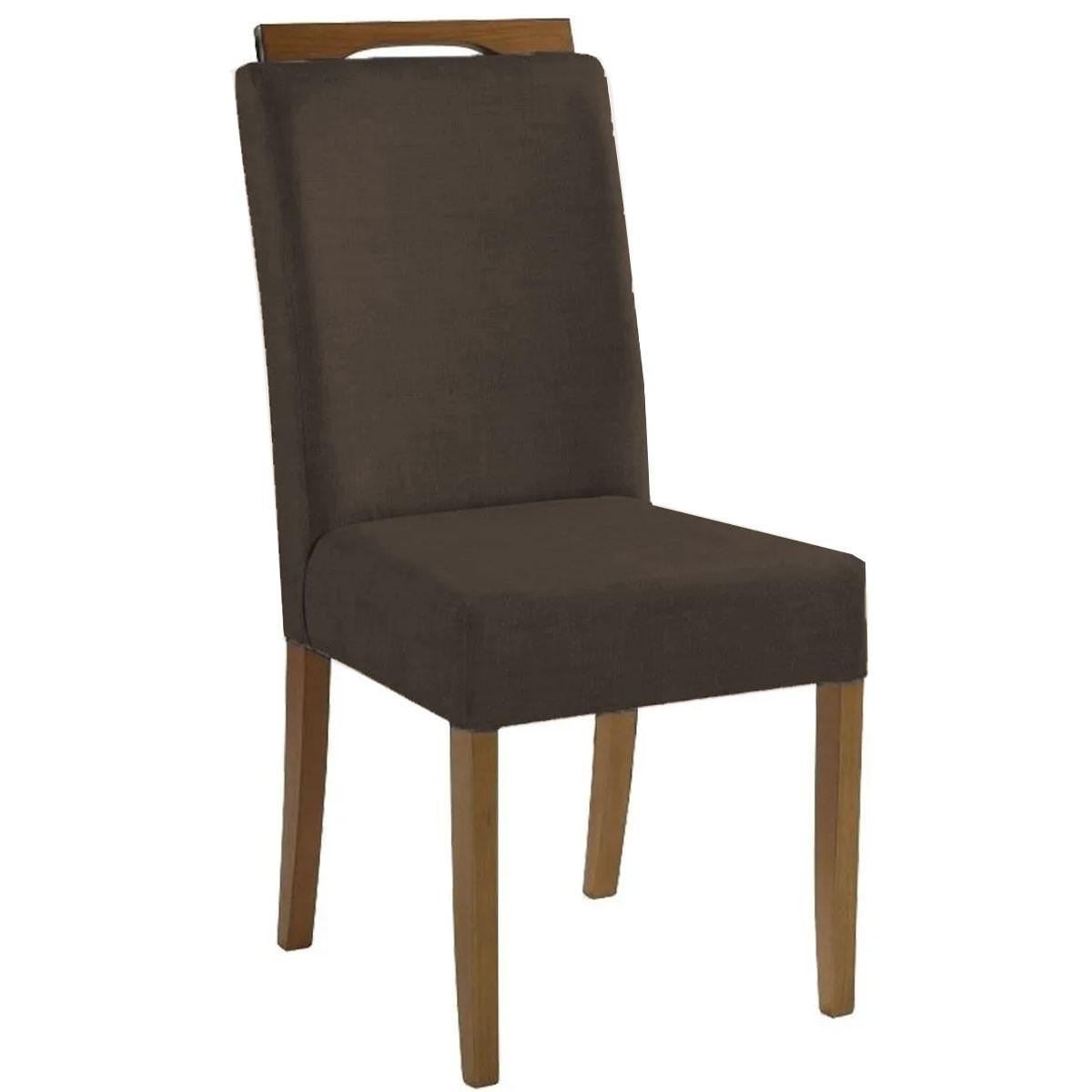 Kit 4 Cadeiras Estofadas Fabiana 100% Madeira Suede Marrom