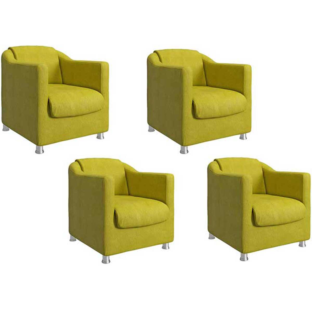 Kit 4 Poltronas Decorativas Luiza Animale Amarelo