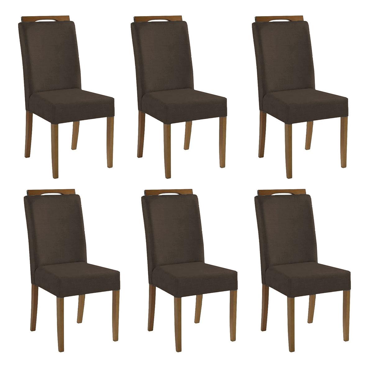 Kit 6 Cadeiras Estofadas Heloísa 100% Madeira Suede Marrom