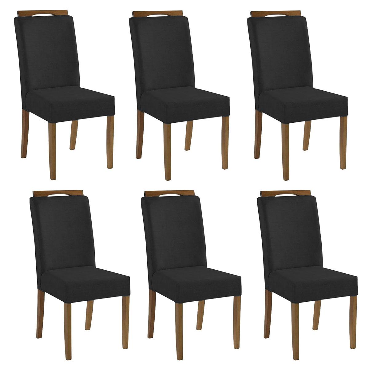Kit 6 Cadeiras Estofadas Heloísa 100% Madeira Suede Preto