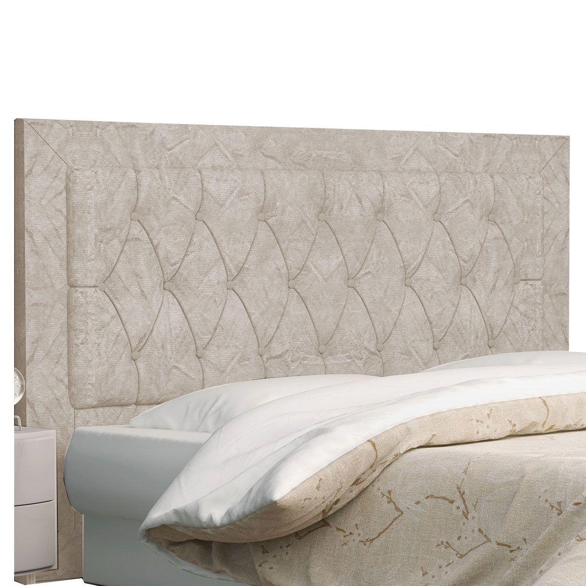 Kit Cabeceira Bianca e Calçadeira Itália Casal 140 cm Marfim