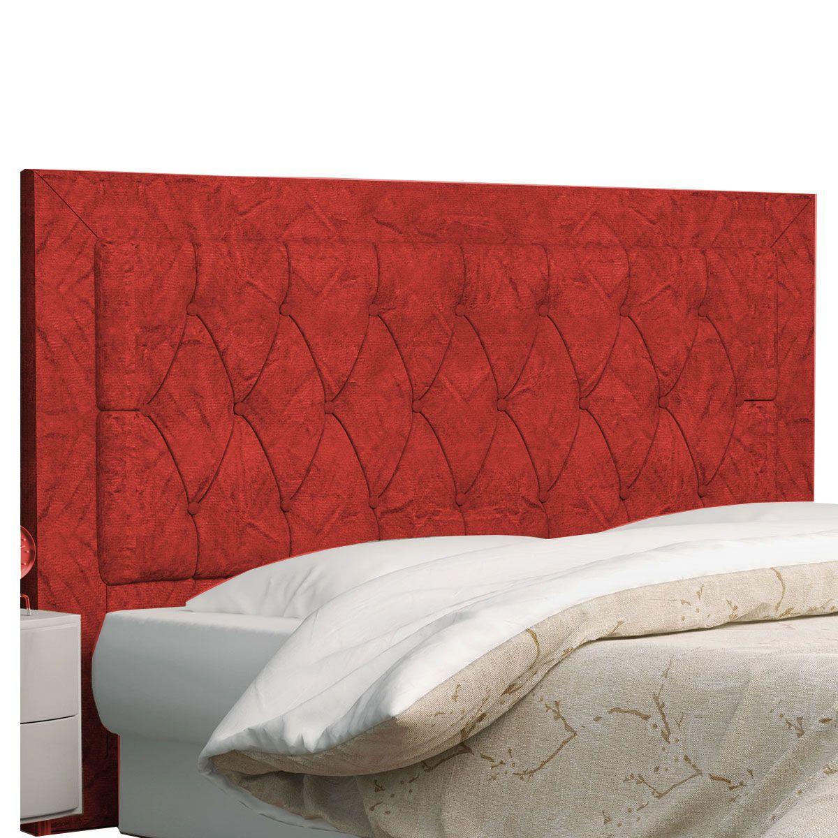 Kit Cabeceira Bianca e Calçadeira Itália Casal 140 cm Vermelho