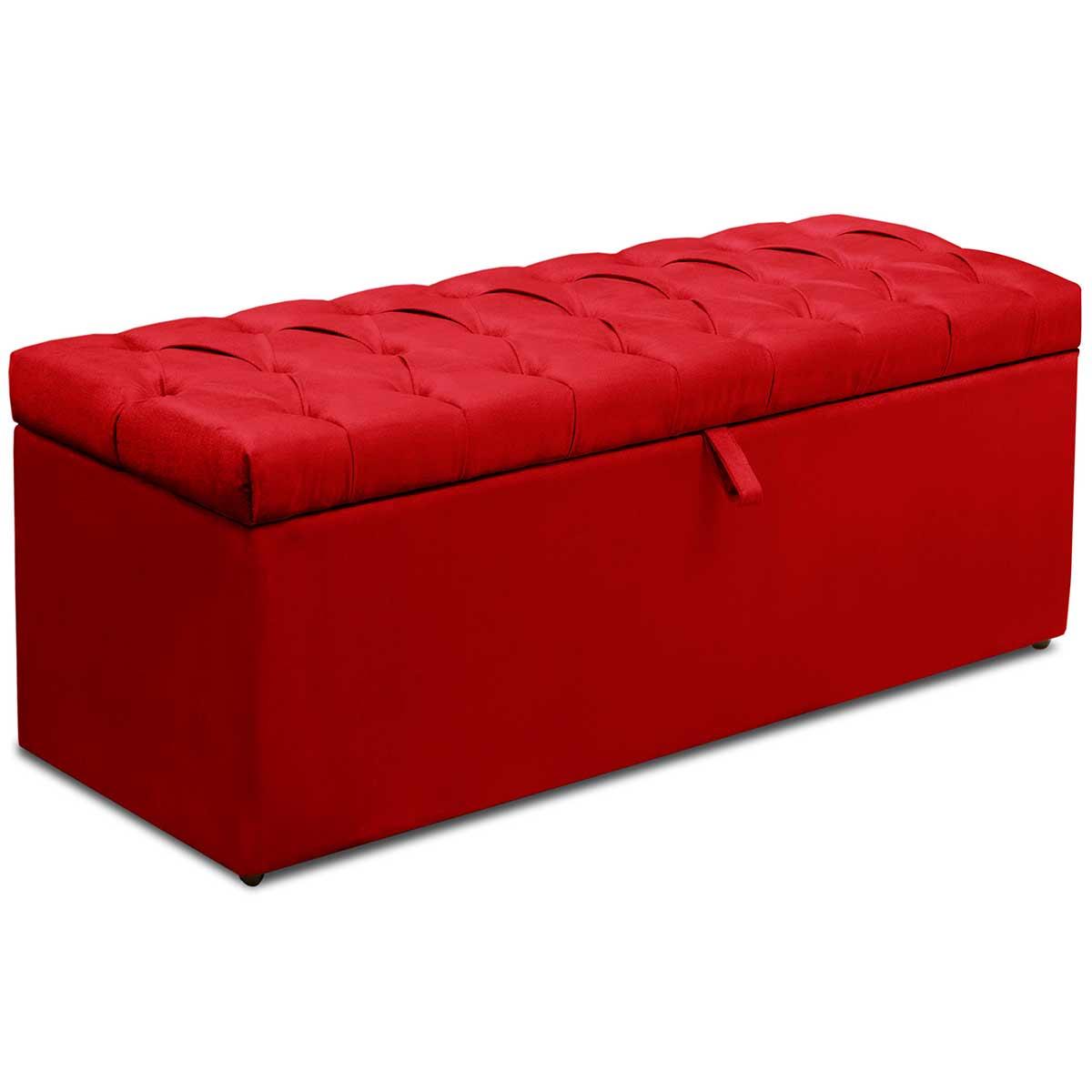 Kit Cabeceira Bianca e Calçadeira Itália King 195 cm Vermelho