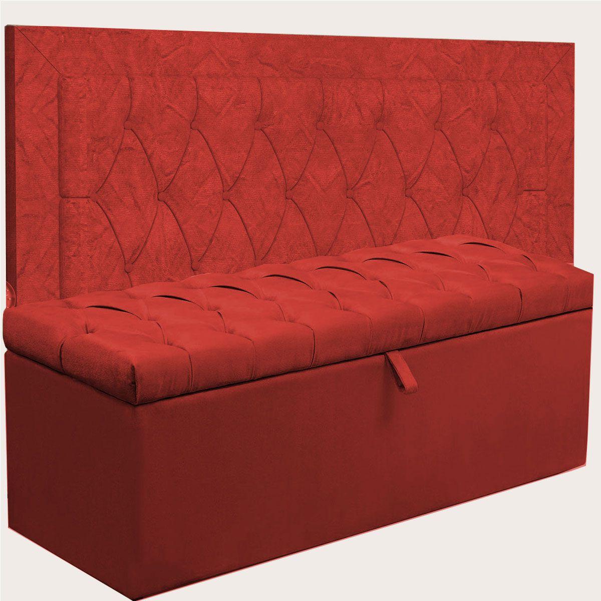 Kit Cabeceira Bianca e Calçadeira Itália Queen 160 cm Vermelho