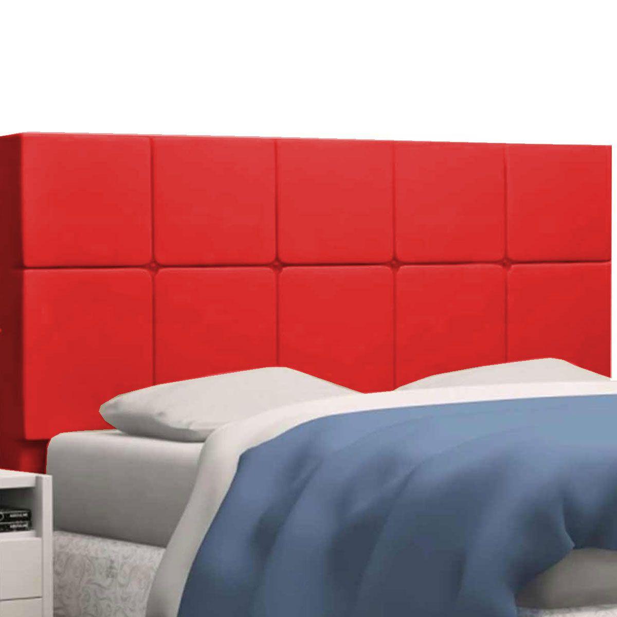 Kit Cabeceira Damares e Calçadeira Kiara Solteiro 90 cm Vermelho