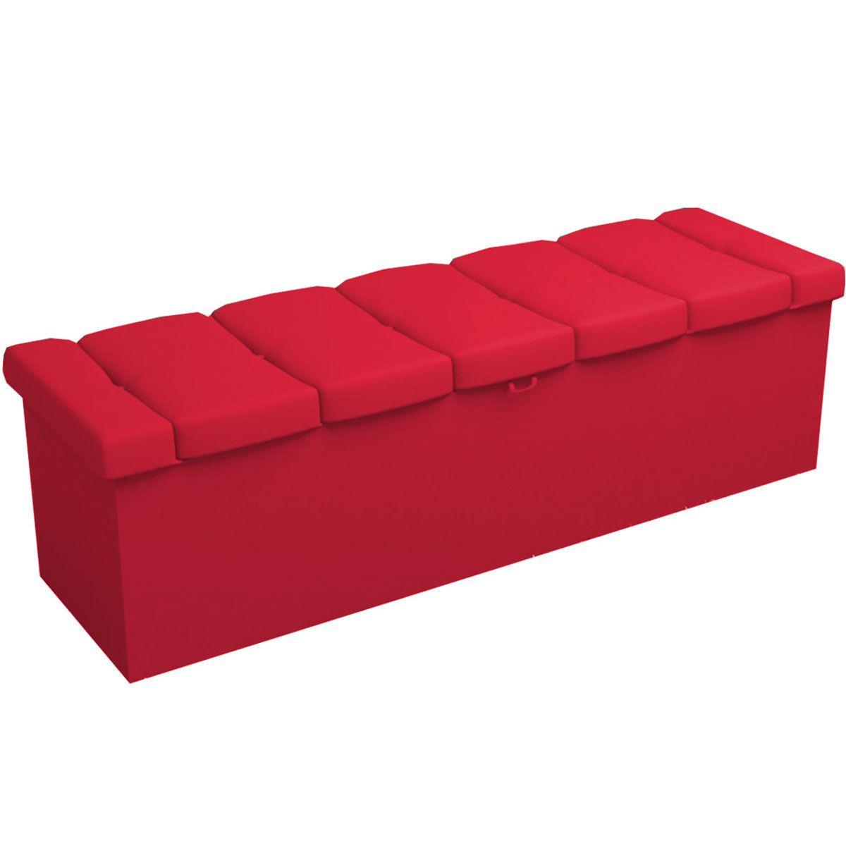 Kit Cabeceira e Calçadeira Kiara Solteiro 90 cm Vermelho