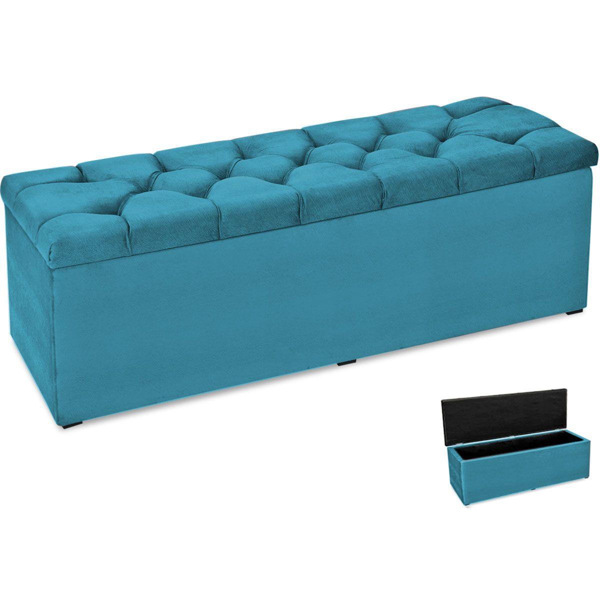 Kit Cabeceira e Calçadeira Queen Paris 160 cm Azul Velur