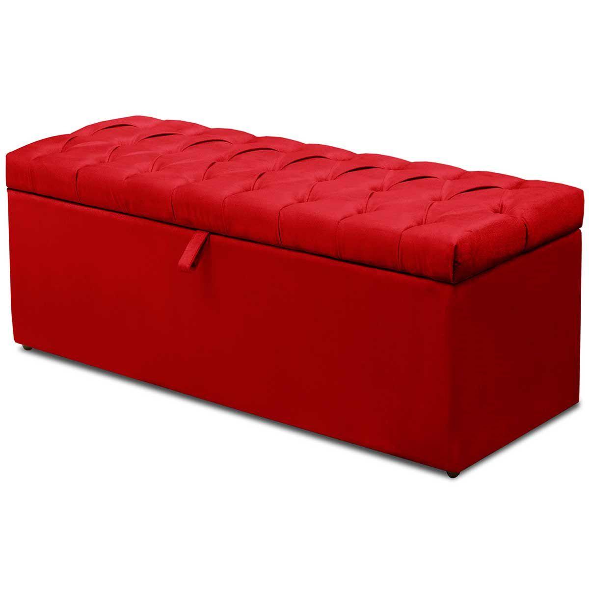 Kit Cabeceira Paris Calçadeira Itália Casal 140 cm Vermelho
