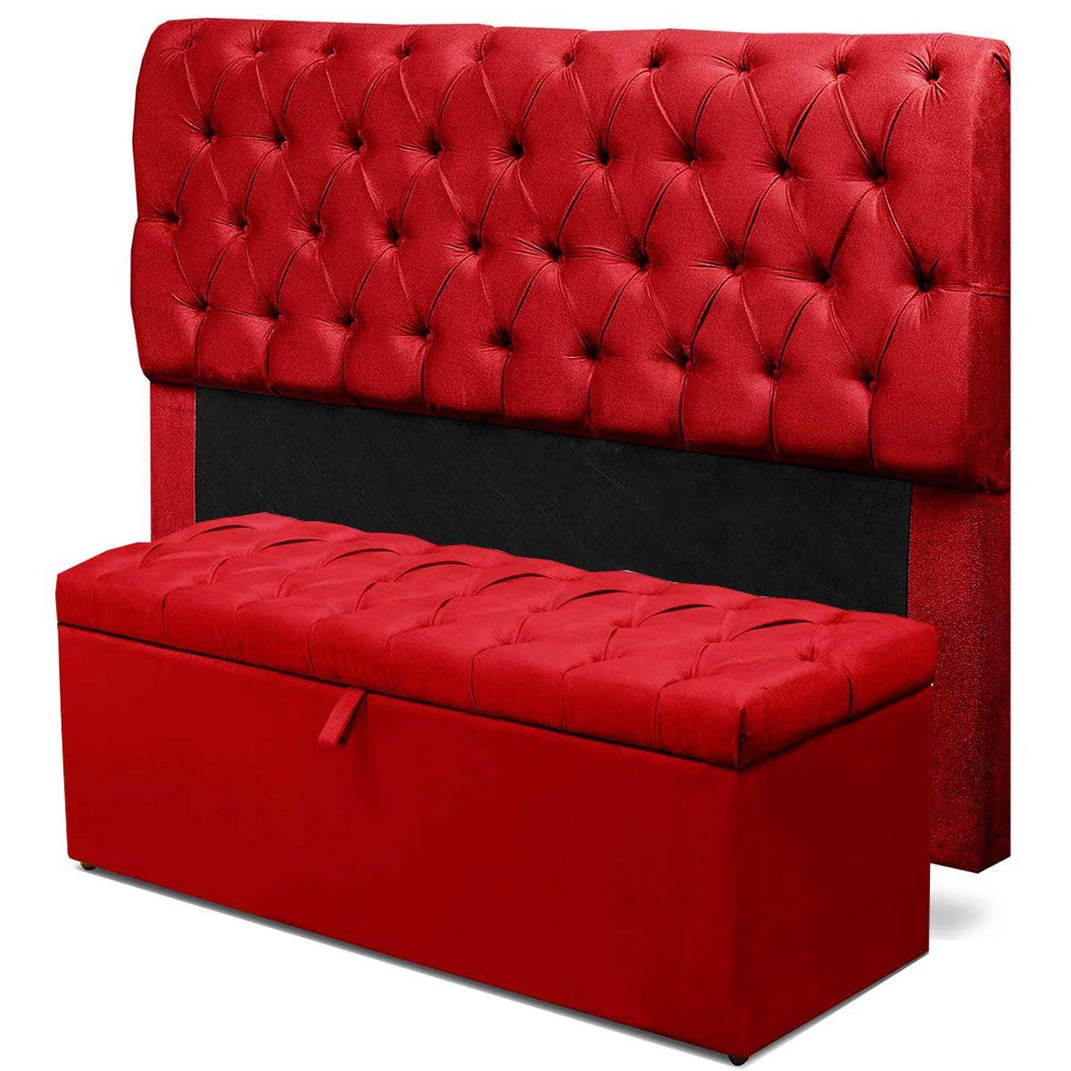 Kit Cabeceira Paris Calçadeira Itália Queen 160 cm Vermelho