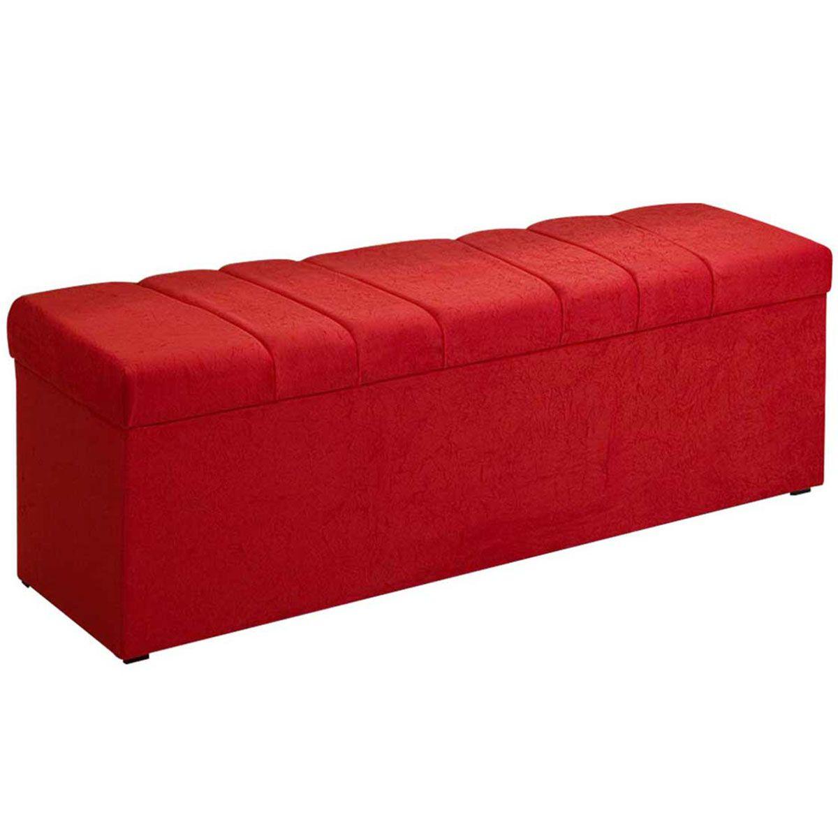 Kit Cabeceira Poliana e Calçadeira Kiara King 195 cm Vermelho