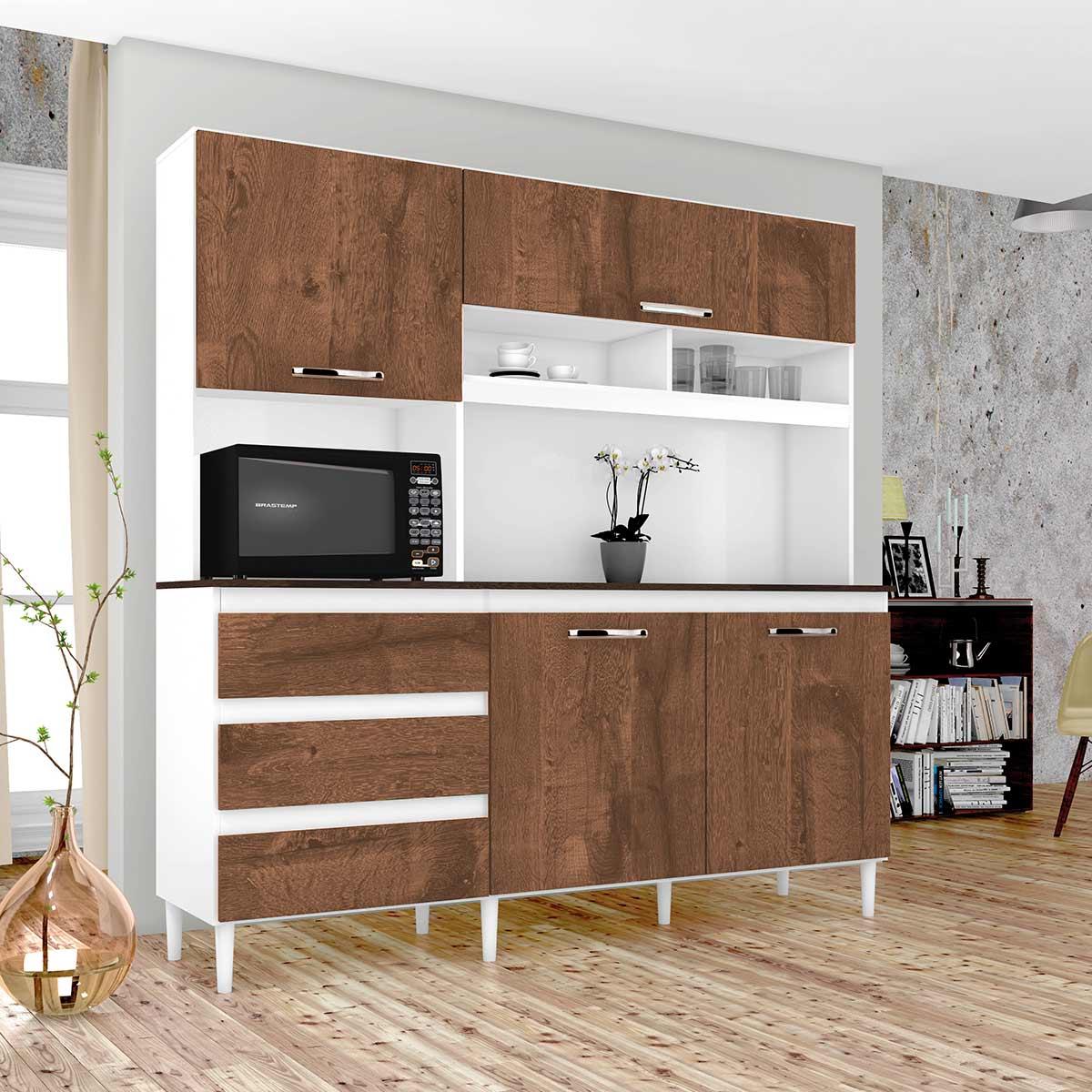 Kit de Cozinha Florença Branco/Malbec Incorplac