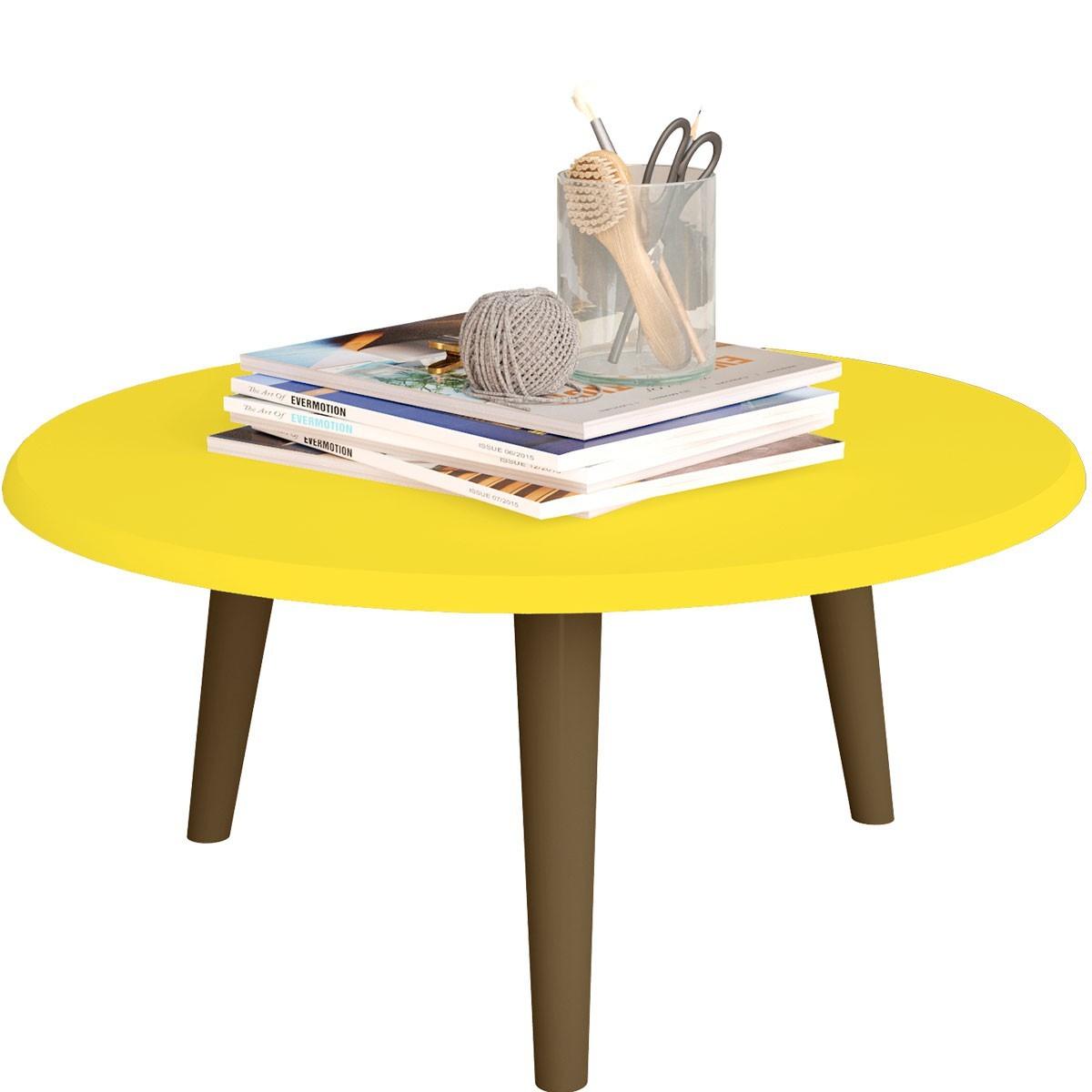 Kit Mesa de Centro, Mesa Lateral e Mesa de Apoio Amarelo