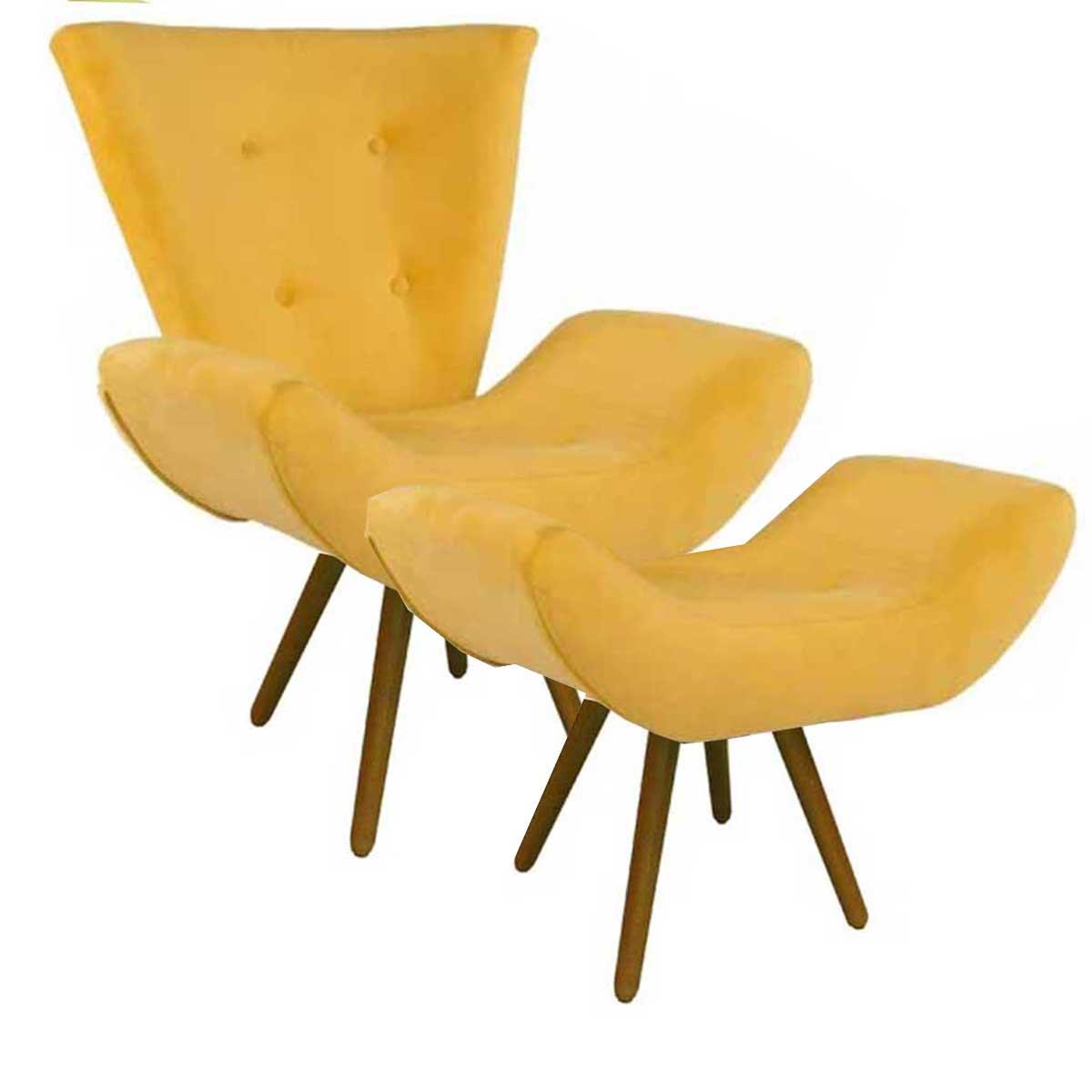 Kit Poltrona Diana e Puff Arezzo Animale Amarelo